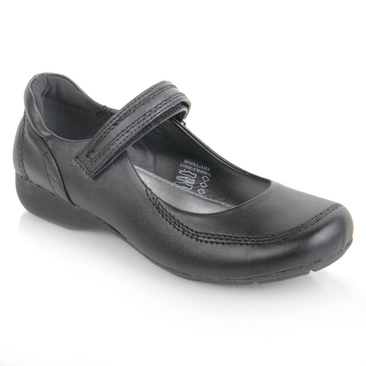 Kids Girls Black Flat School Shoes Mary Jane Hook U0026 Loop ...