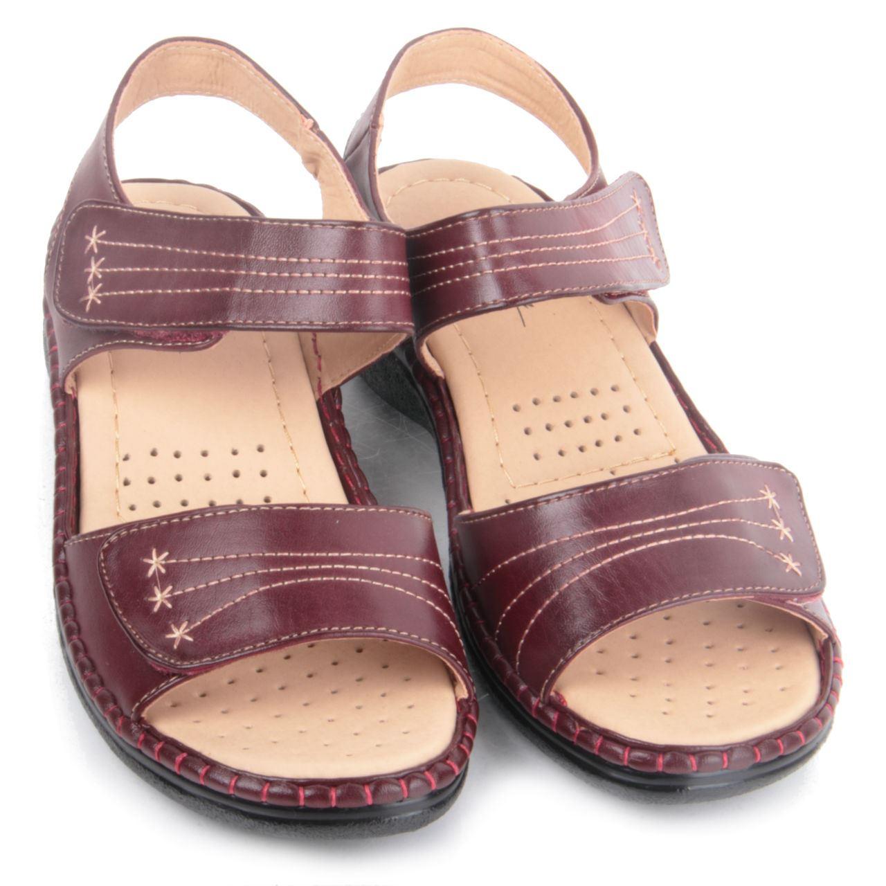 Model Boulevard Ladies Beige Double Velcro Strap Sling Back Sandal L589BE