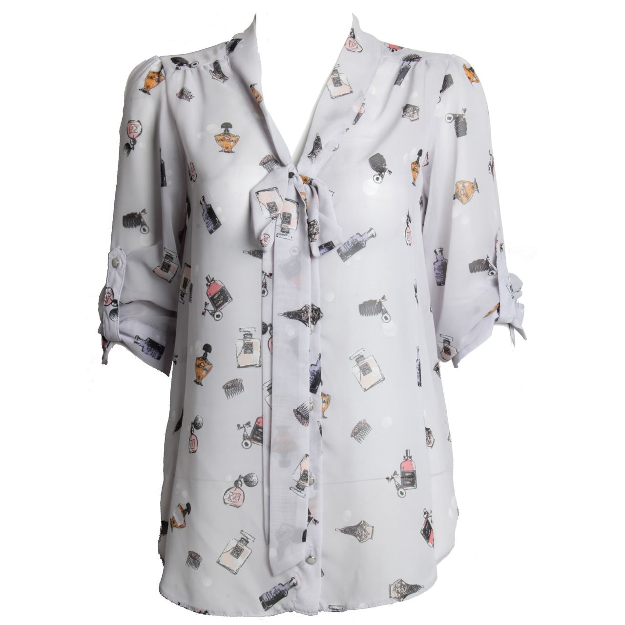 Womens Ladies Rolled Long Sleeve Button Up Bow Collar