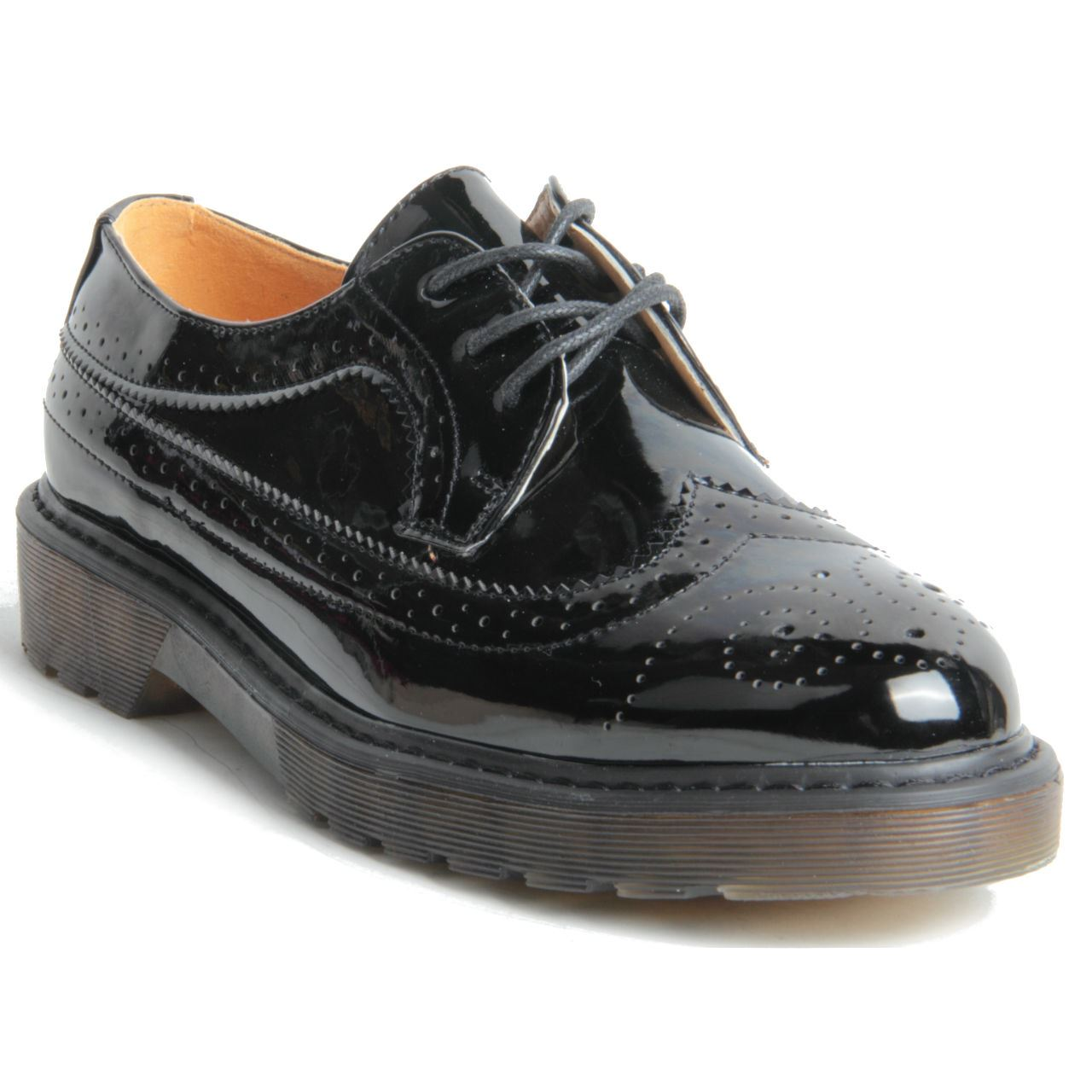 chunky platform sole lace up oxford brogue shoes