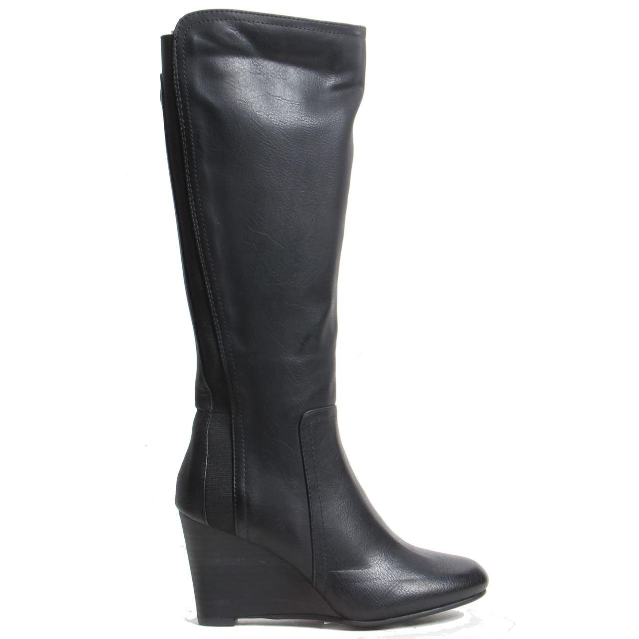 womens wedge heel zip up knee high elasticated