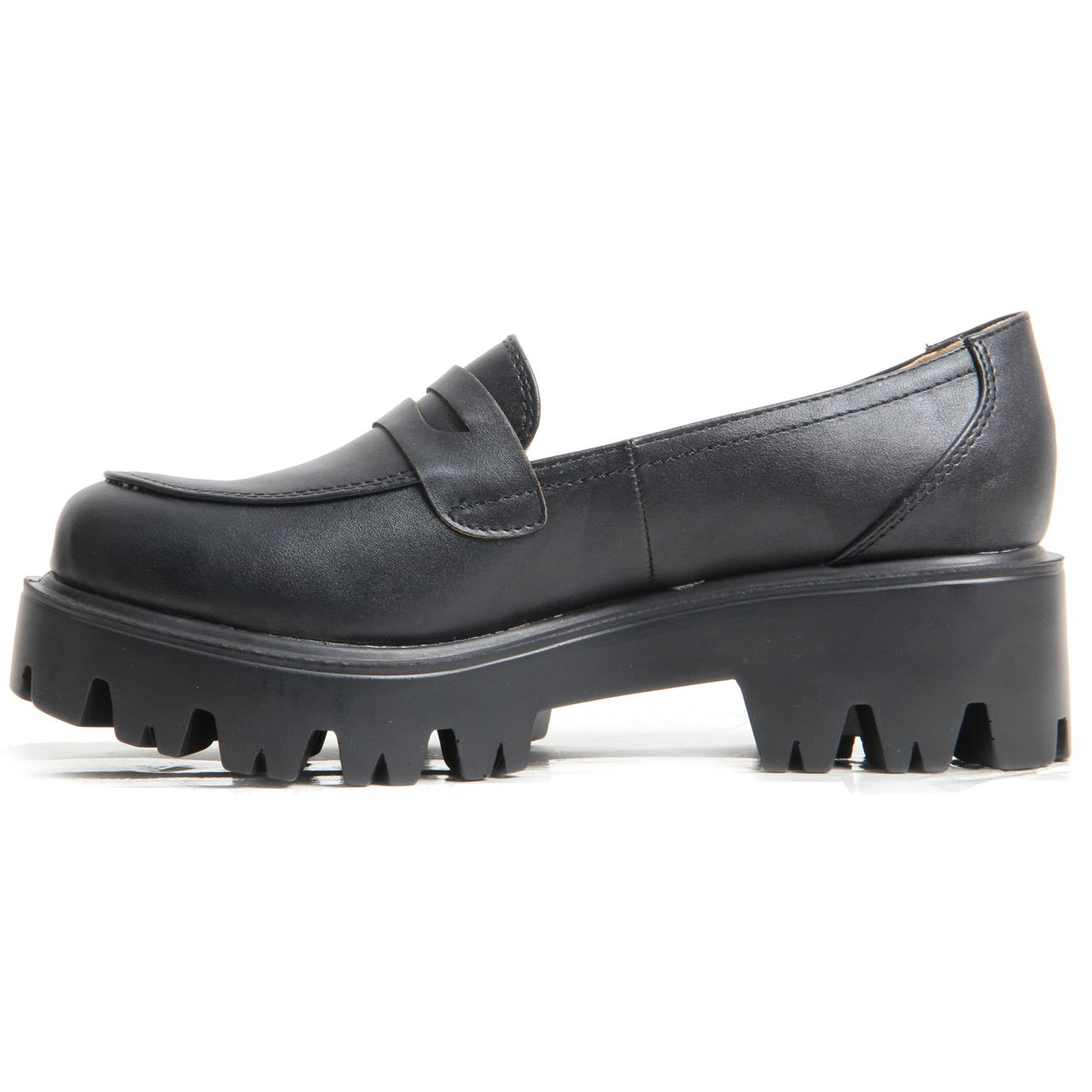 Women Ladies Cleated Chunky Platform Sole Flat Loafer Black Patent School Shoes.   EBay