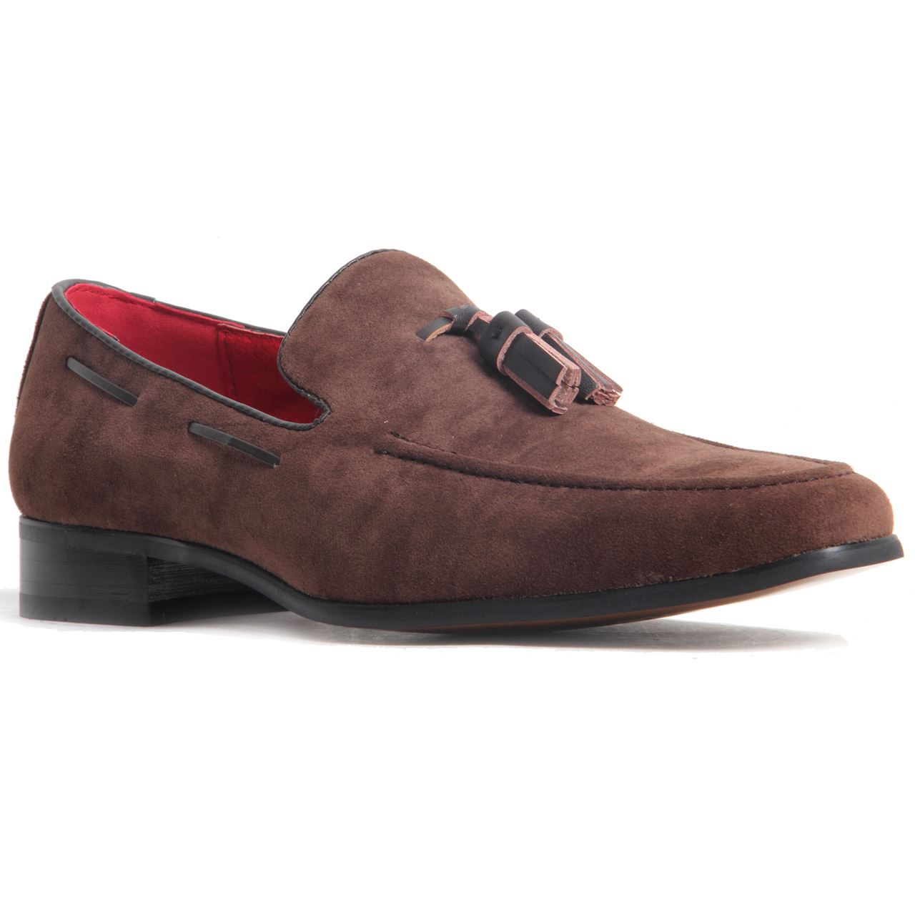 Men 39 S Slip On Tassel Loafers Suede Leather Lined Heel