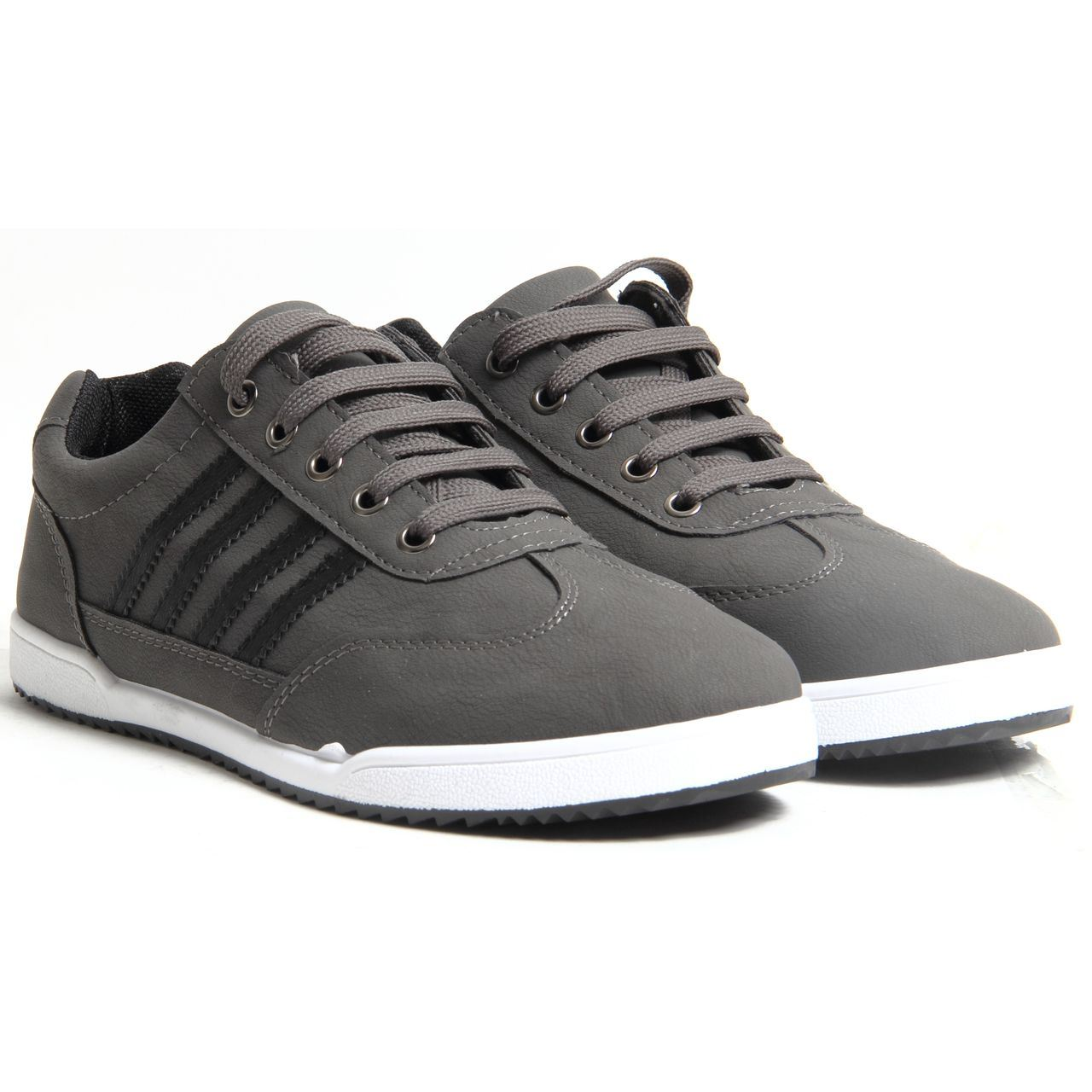 Mens Lace Up Faux Leather Casual Trainers Flat Sole ...