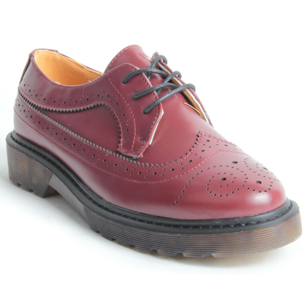 Womens Lace Patent Leather Oxford Shoes with England Style Fruit Candy Casual Baroque Red Shoes