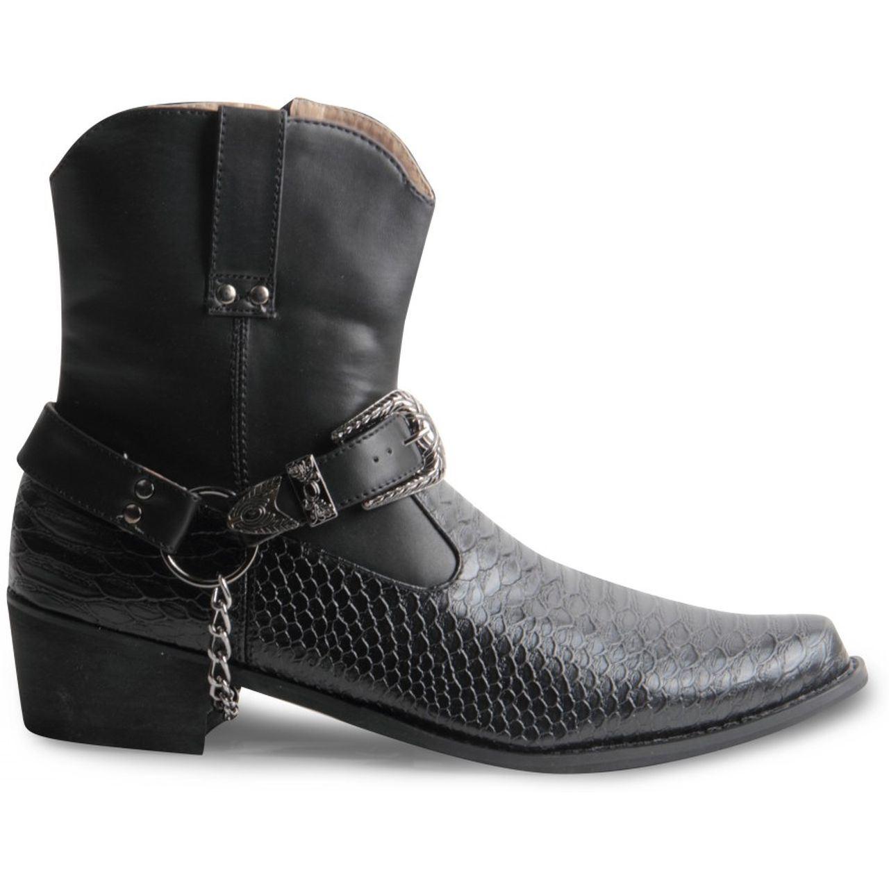 mens gents cowboy boots western snake skin ankle riding shoes black brown white ebay. Black Bedroom Furniture Sets. Home Design Ideas