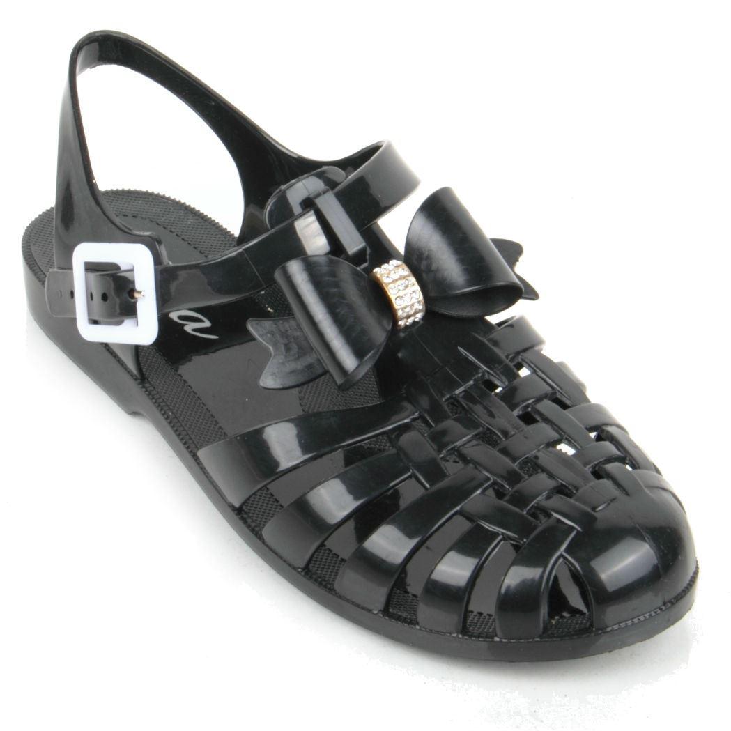 Black juju sandals - Women Jelly Maxi Jelly Bean Flat Shoe Toe