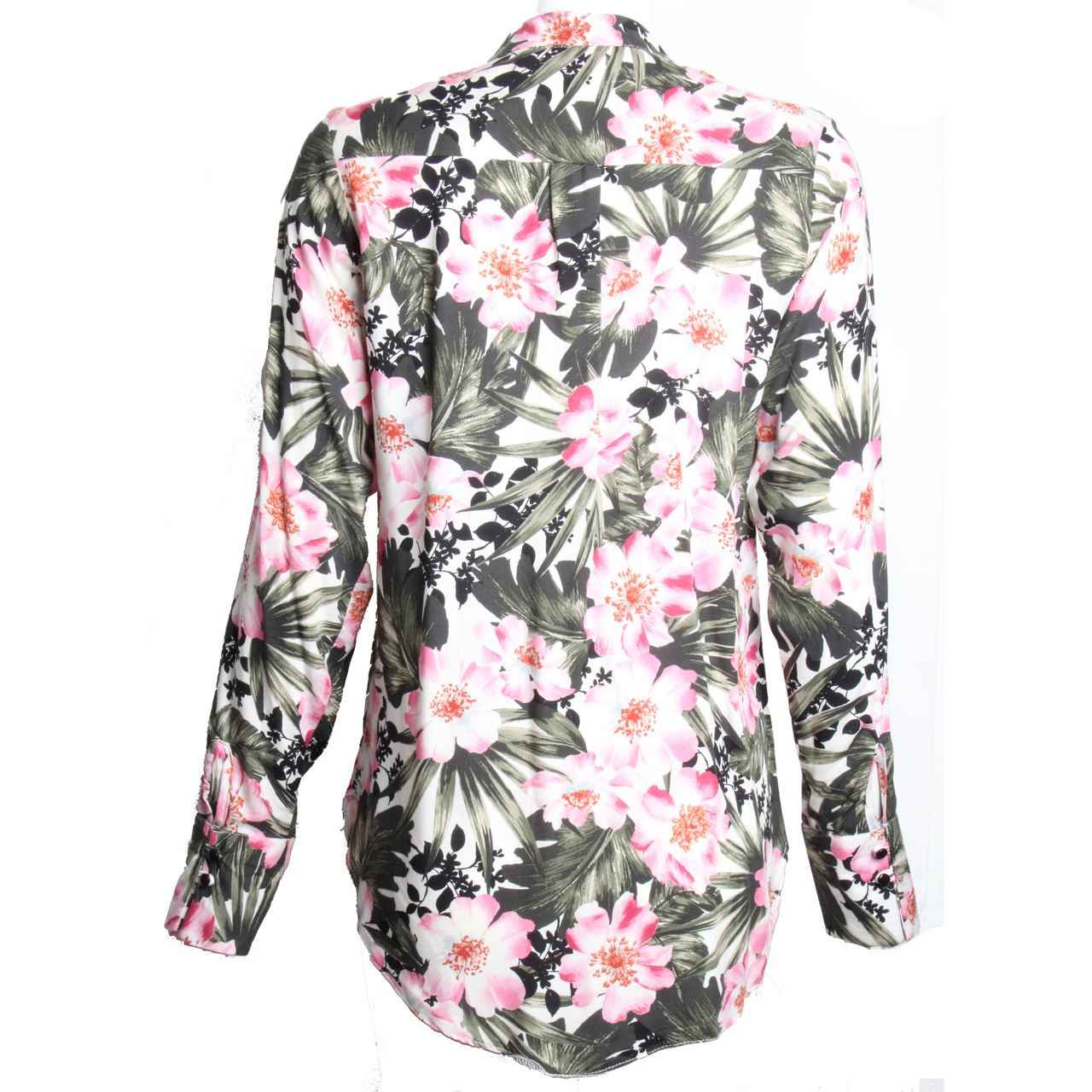 Womens ladies long sleeve button up blouse floral print for Floral print button up shirt