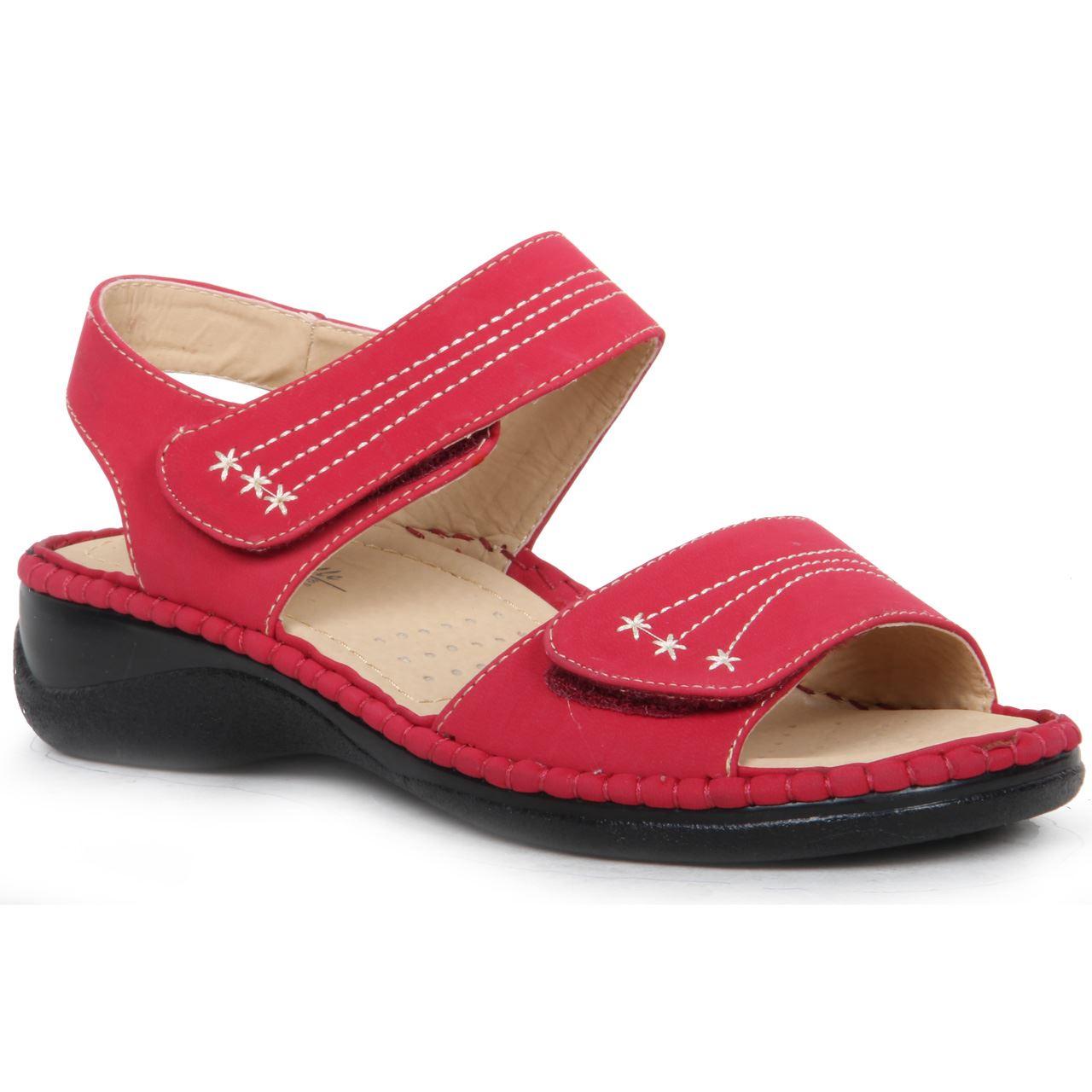 Womens Wedge Heel Hook & Loop Strap Comfortable Padded ...