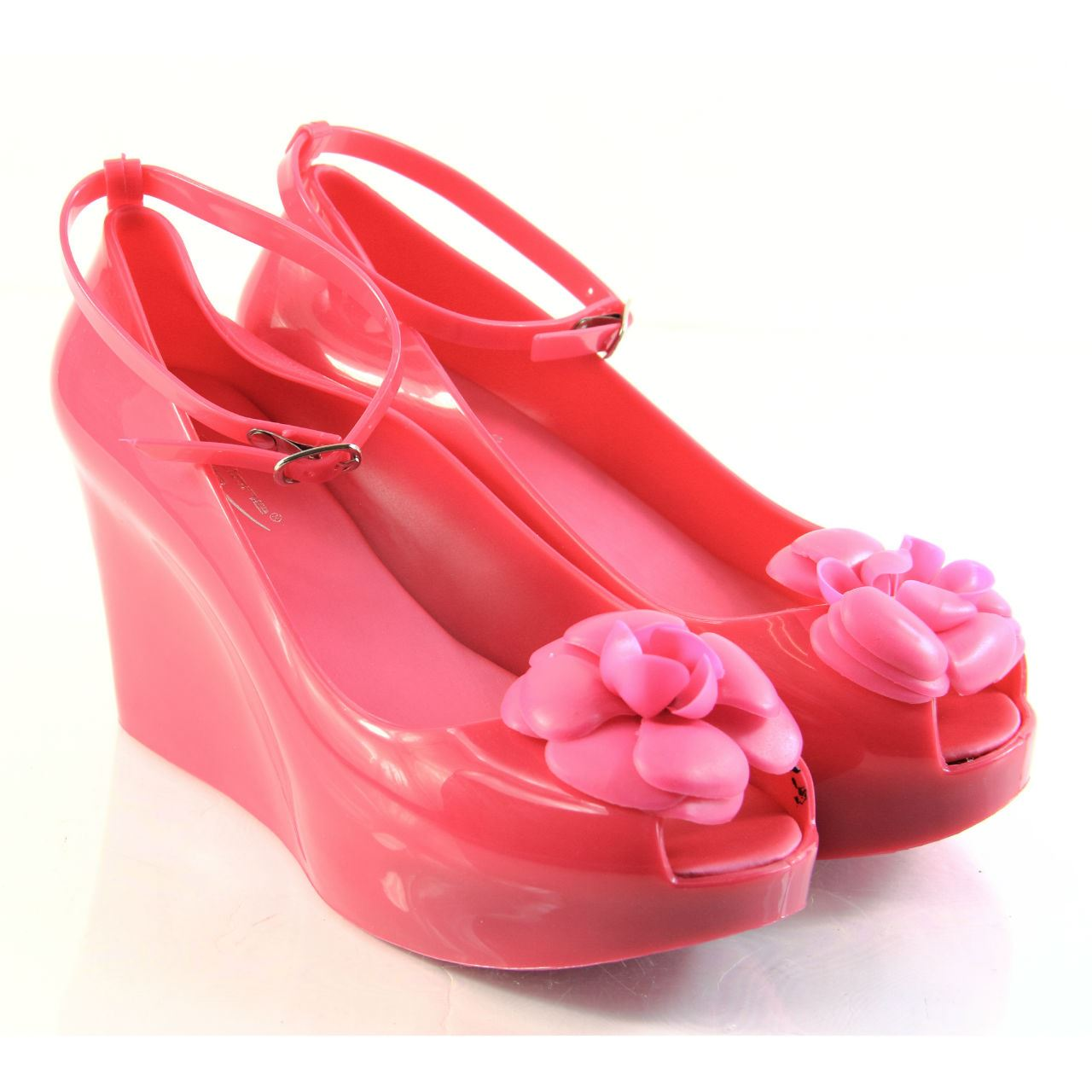 womens high heel wedge peep toe ankle straps jelly