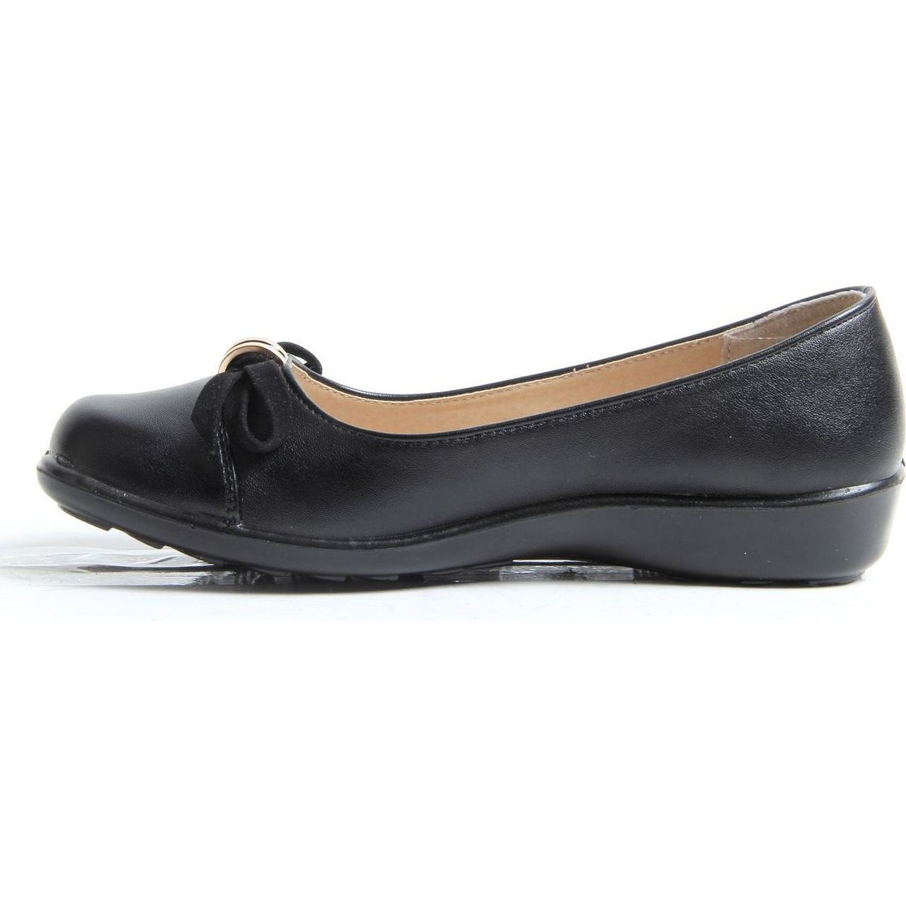 Womens Ladies Slip On Leather Lined Low Wedge Loafers ...
