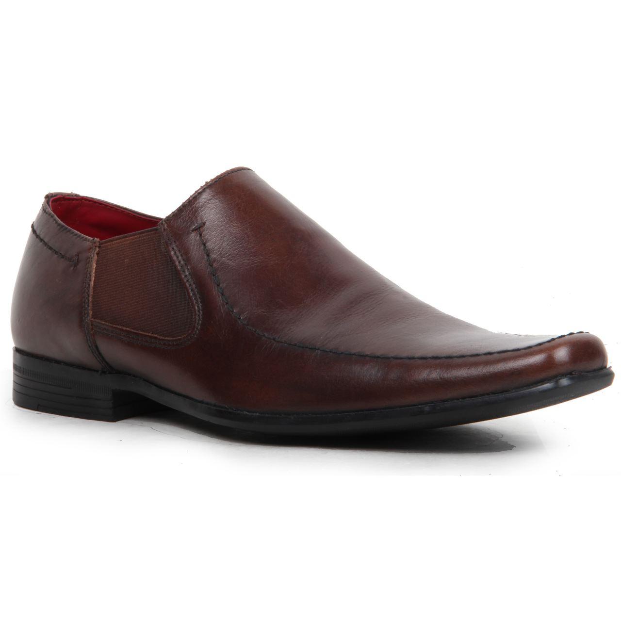 mens slip on elasticated sides genuine leather square toe