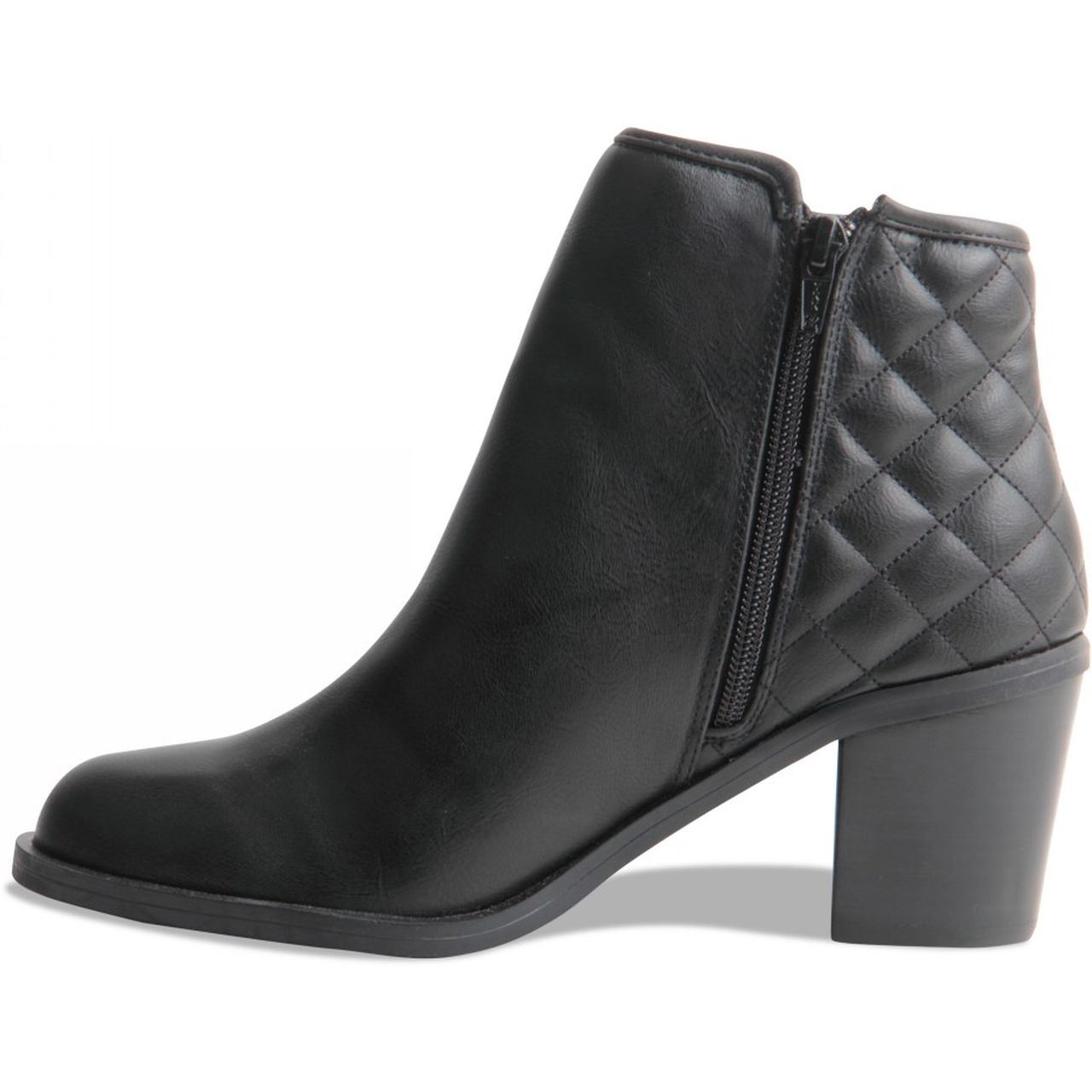 womens block heel quilted zip up ankle boots next