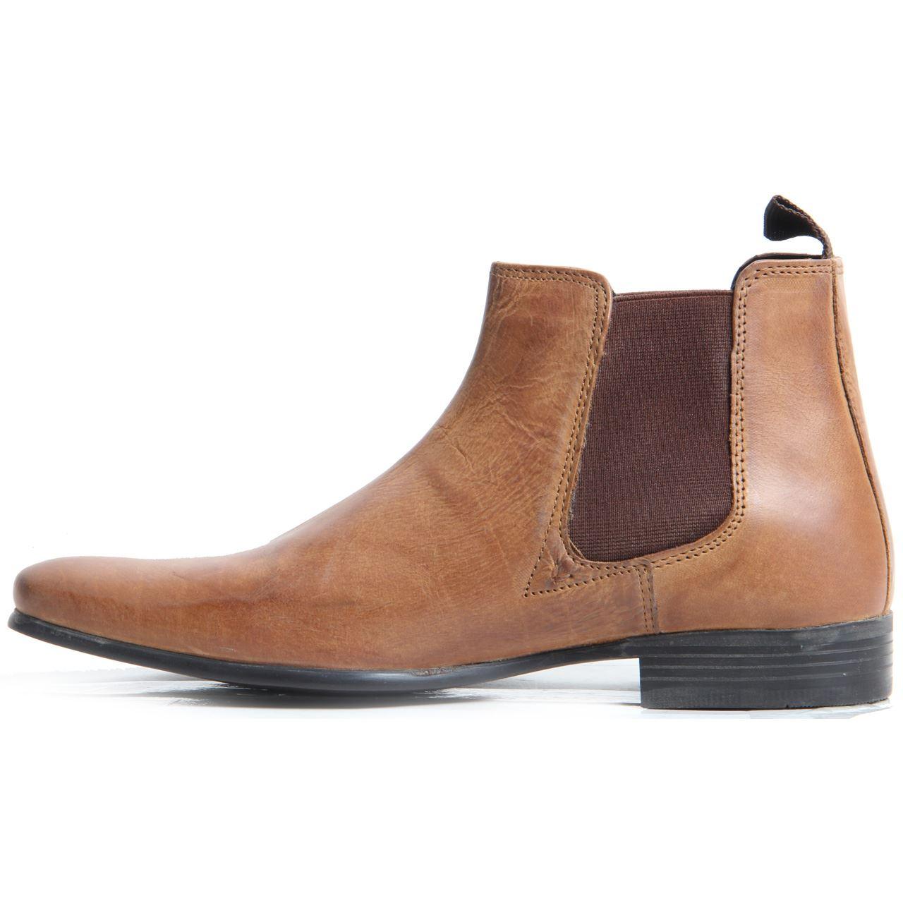 Mens Gentleman Genuine Leather Slip On Smart Casual Chelsea Boots ...