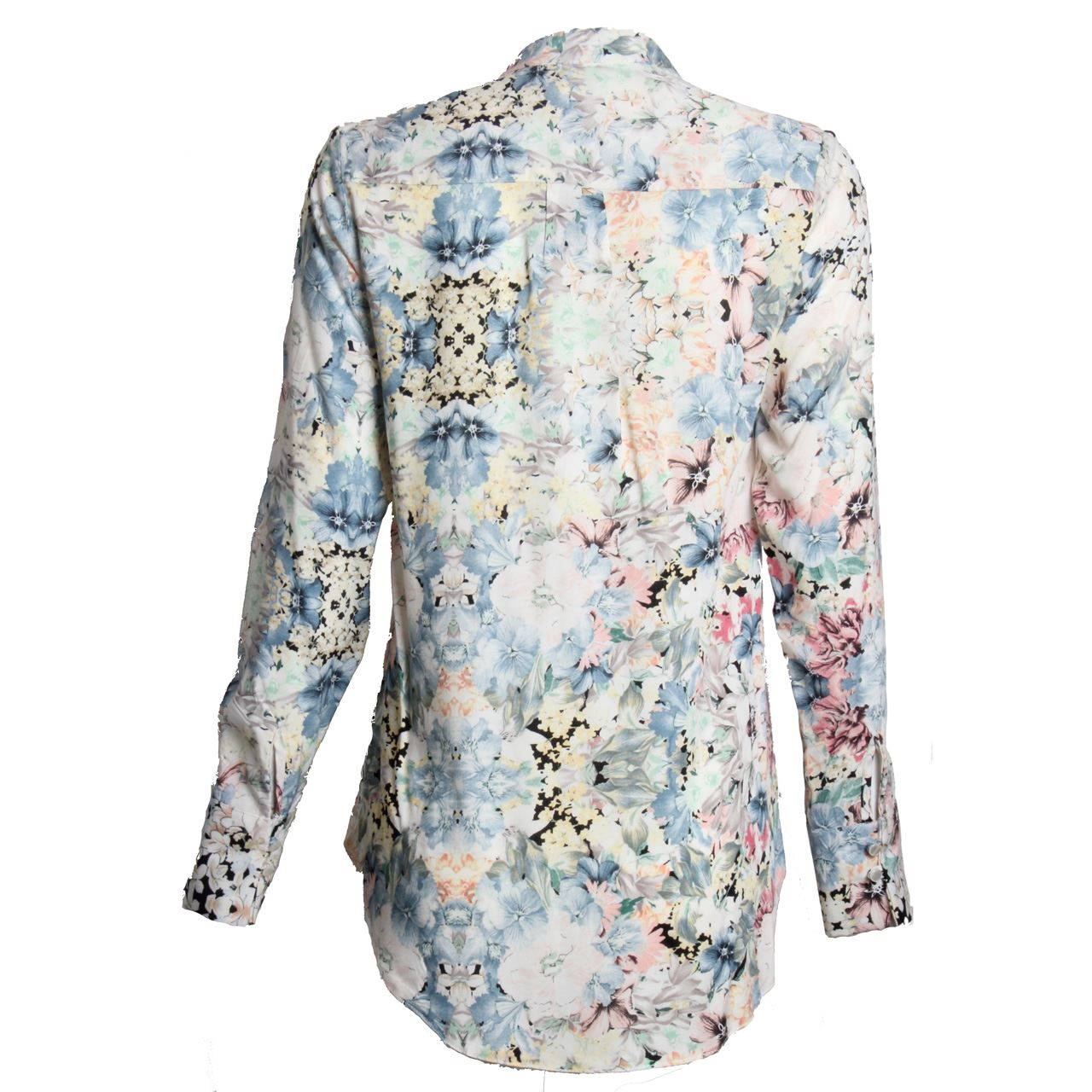 Womens Ladies Long Sleeve Button Up Blouse Floral Print