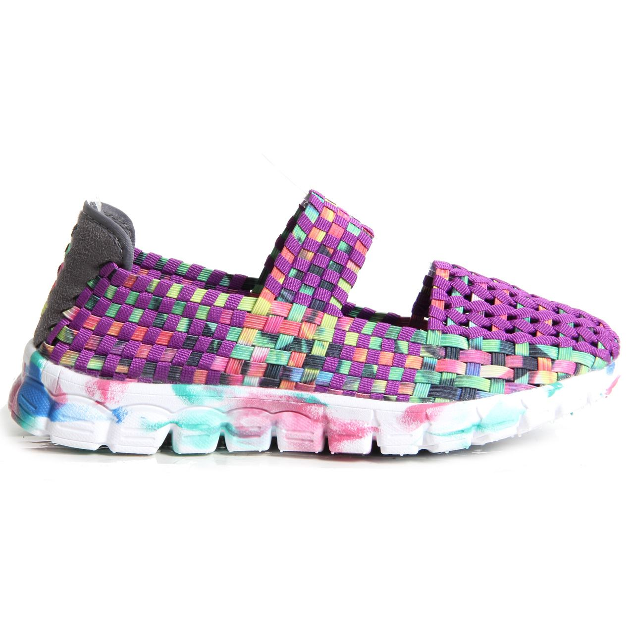 womens woven shoes slip on multi colour