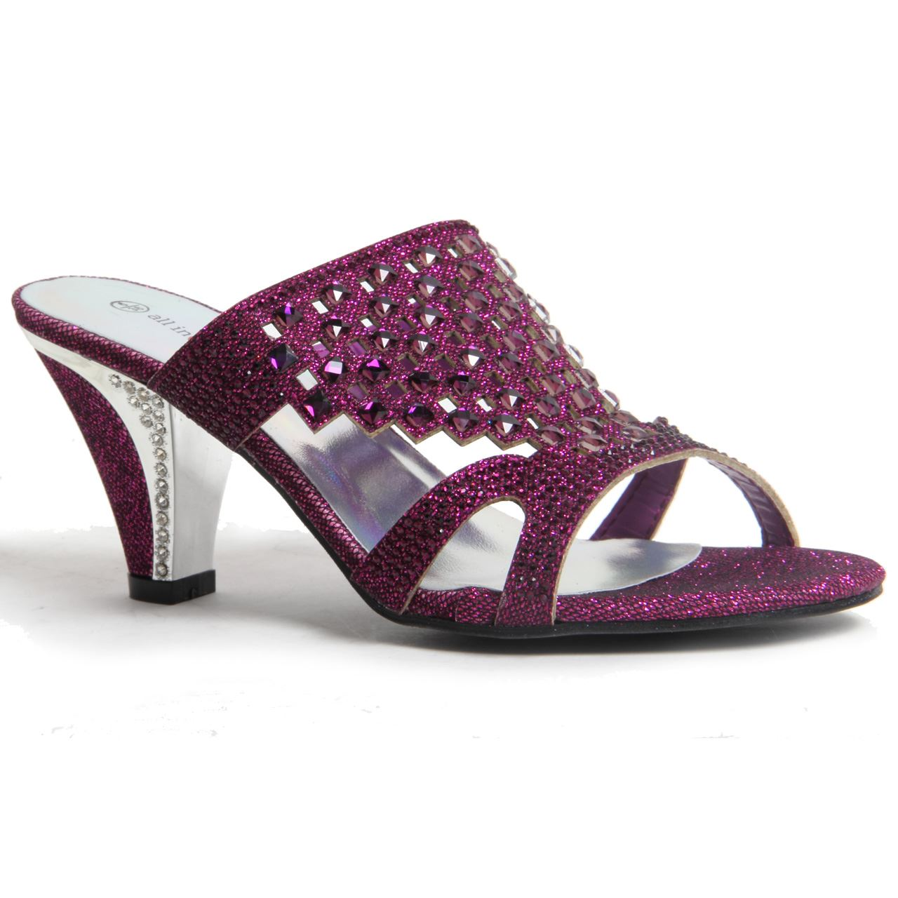 Womens Ladies Sparkling Diamante Block Heel Party Shoes