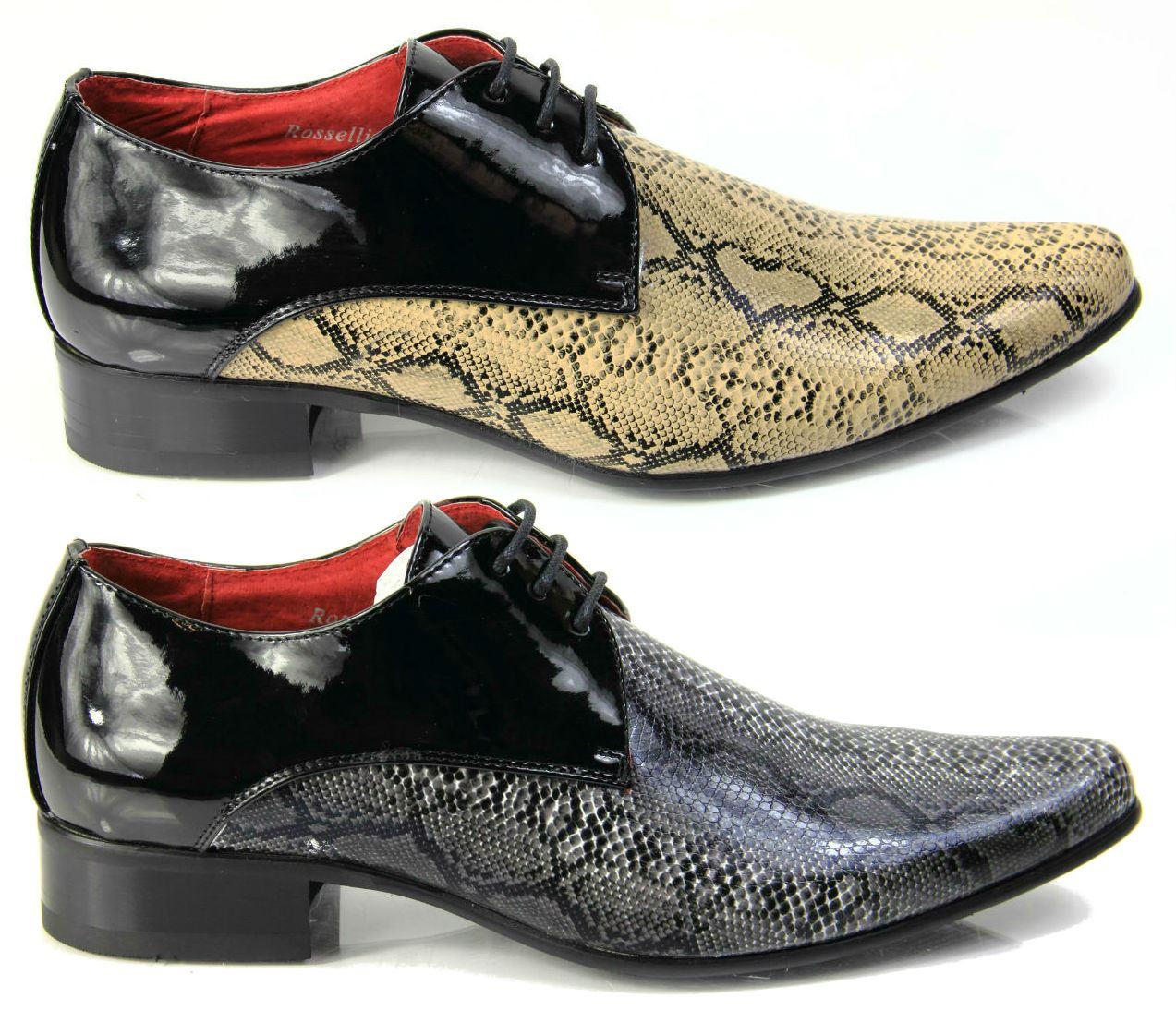 Mens Italian Designer Dress Shoes, Snakeskin Pointed