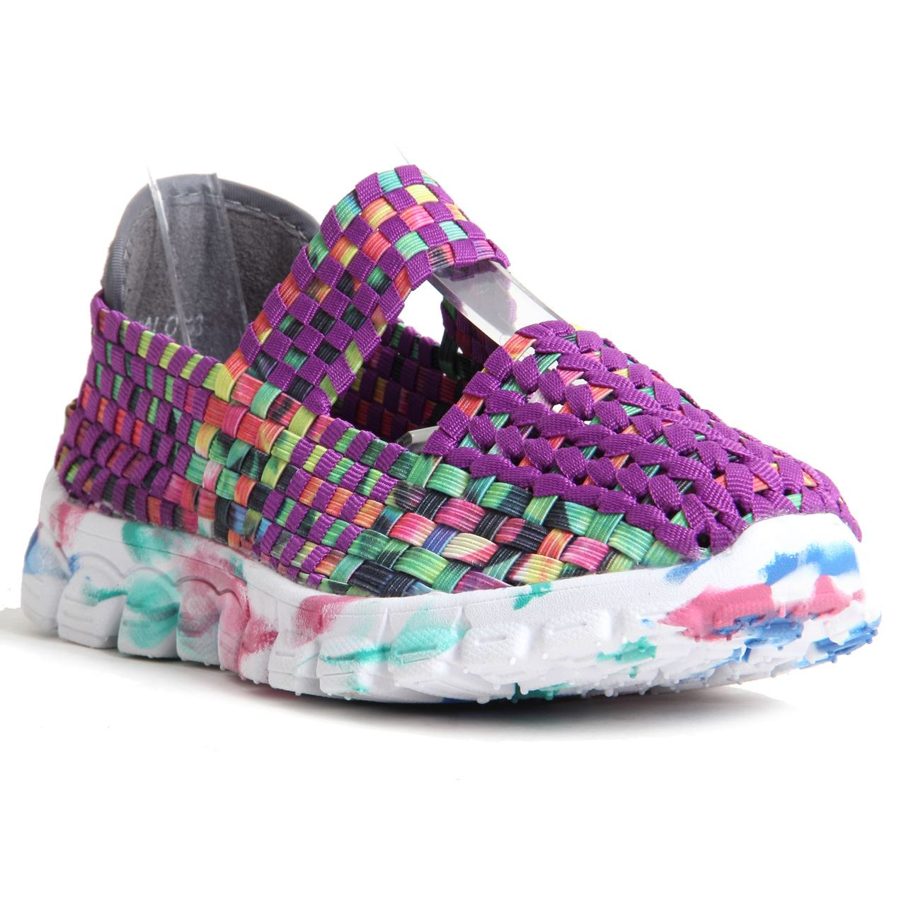 Womens Ladies Woven Shoes Slip On Multi Colour Mary Jane