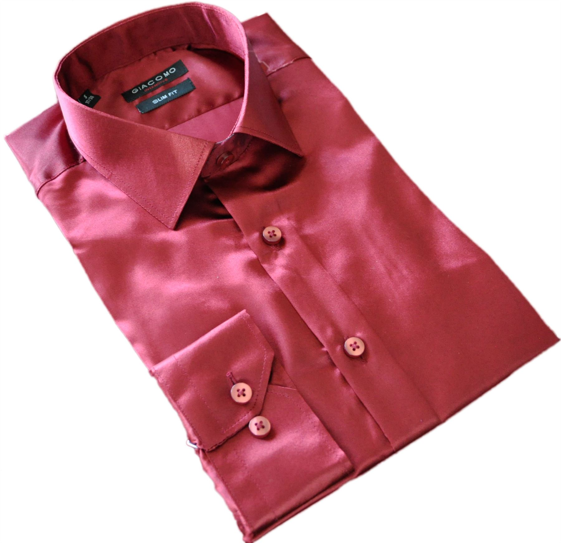 chemise rouge bordeaux en satin homme c r monie ebay. Black Bedroom Furniture Sets. Home Design Ideas