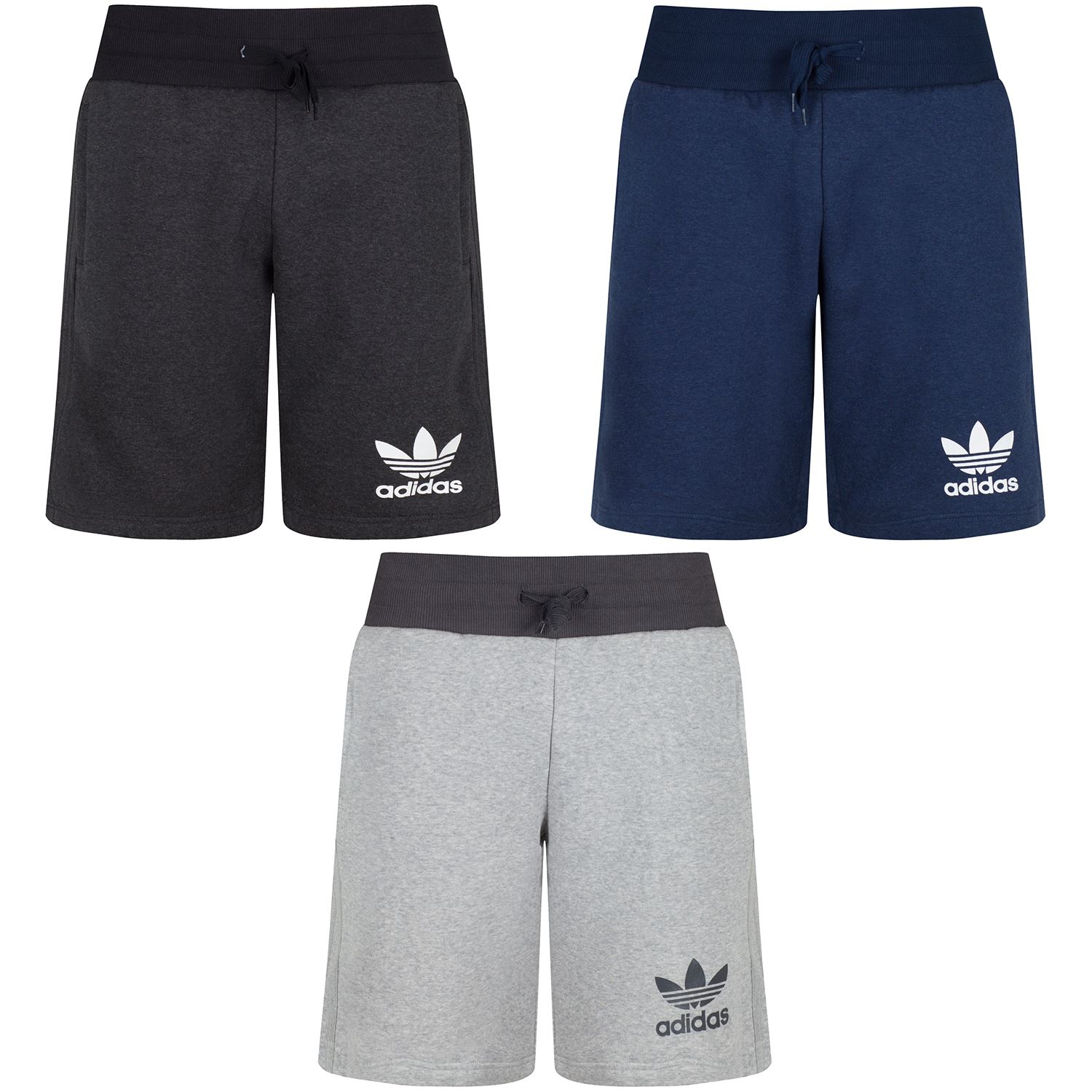 ADIDAS ORIGINALS SPORT ESS JERSEY SHORTS GREY NAVY DARK GREY SIZES S M L XL