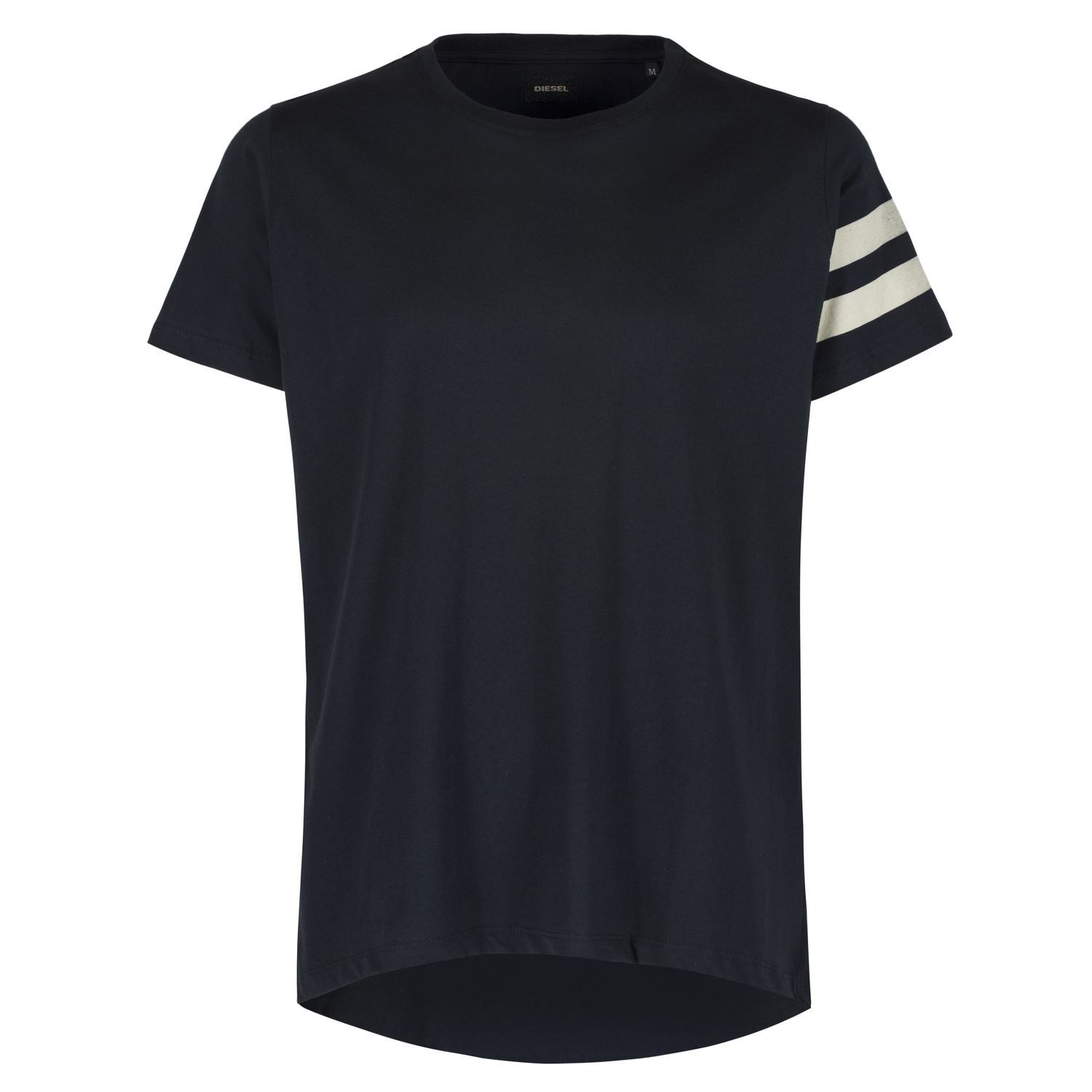 Black t shirt with white stripes - Image Is Loading Diesel Ignatios Black Shirt White Stripes Printed Back