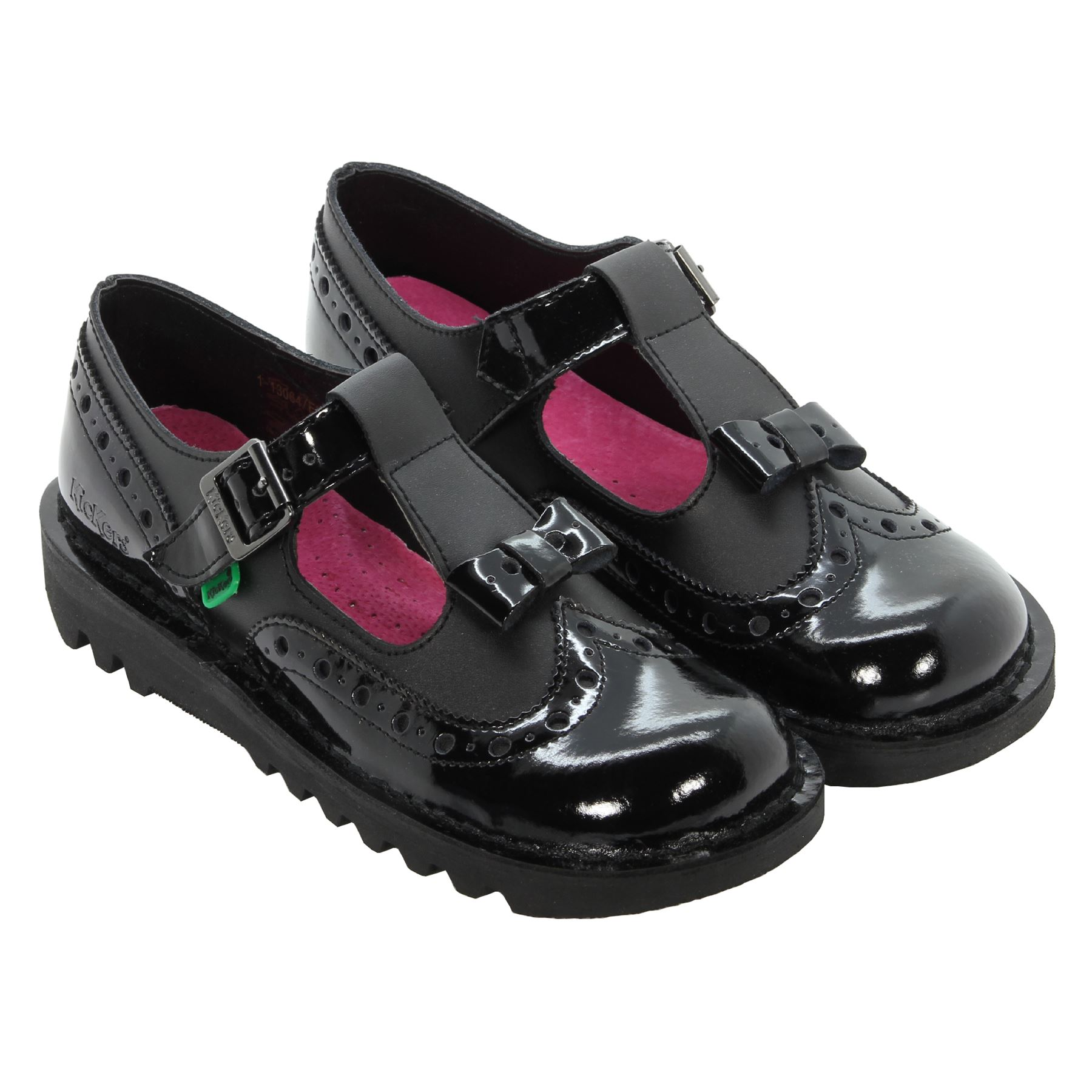 kickers girls womens back to school brogue bow shoes