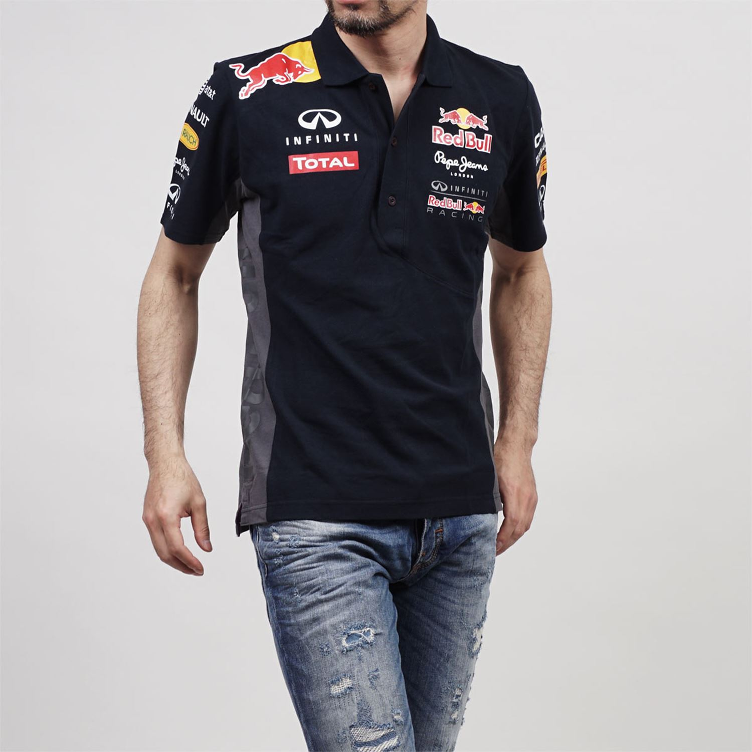 red bull racing f1 polo shirt men 39 s pepe jeans 2013 2015 navy sizes s m l xl xxl ebay. Black Bedroom Furniture Sets. Home Design Ideas