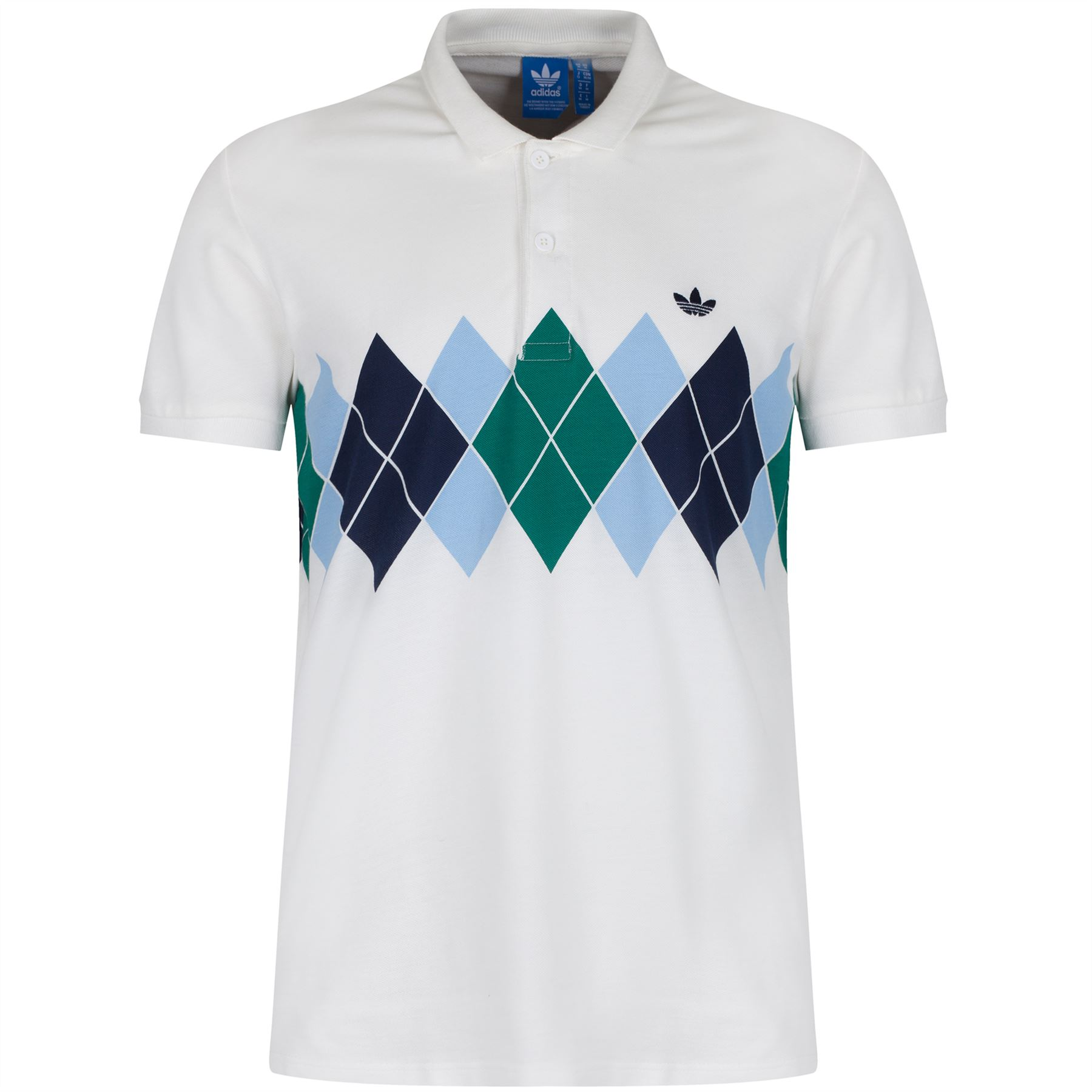 ADIDAS ORIGINALS ARGYLE POLO SHIRT RETRO 80s TENNIS
