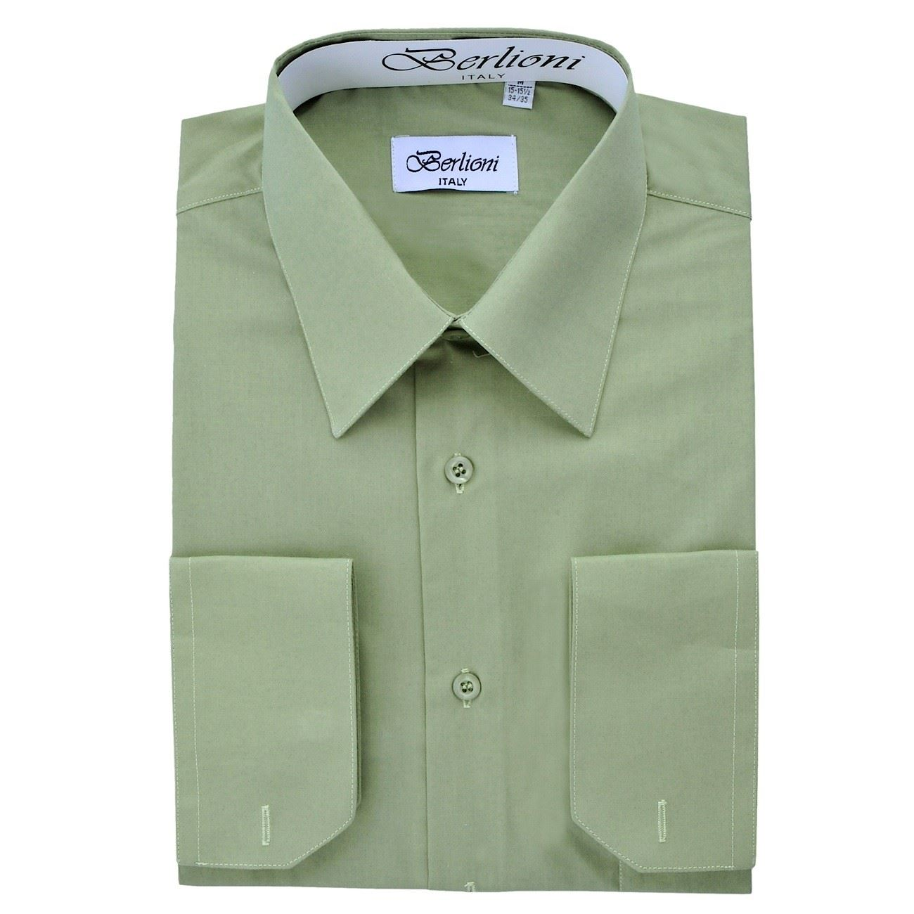 Berlioni italy men 39 s dress shirt french convertible cuff for Cuff shirts for men