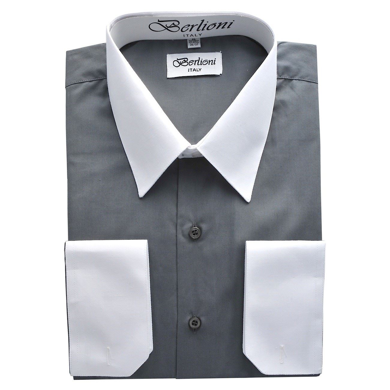 Berlioni Mens Italy Dress Shirt Two Tone French
