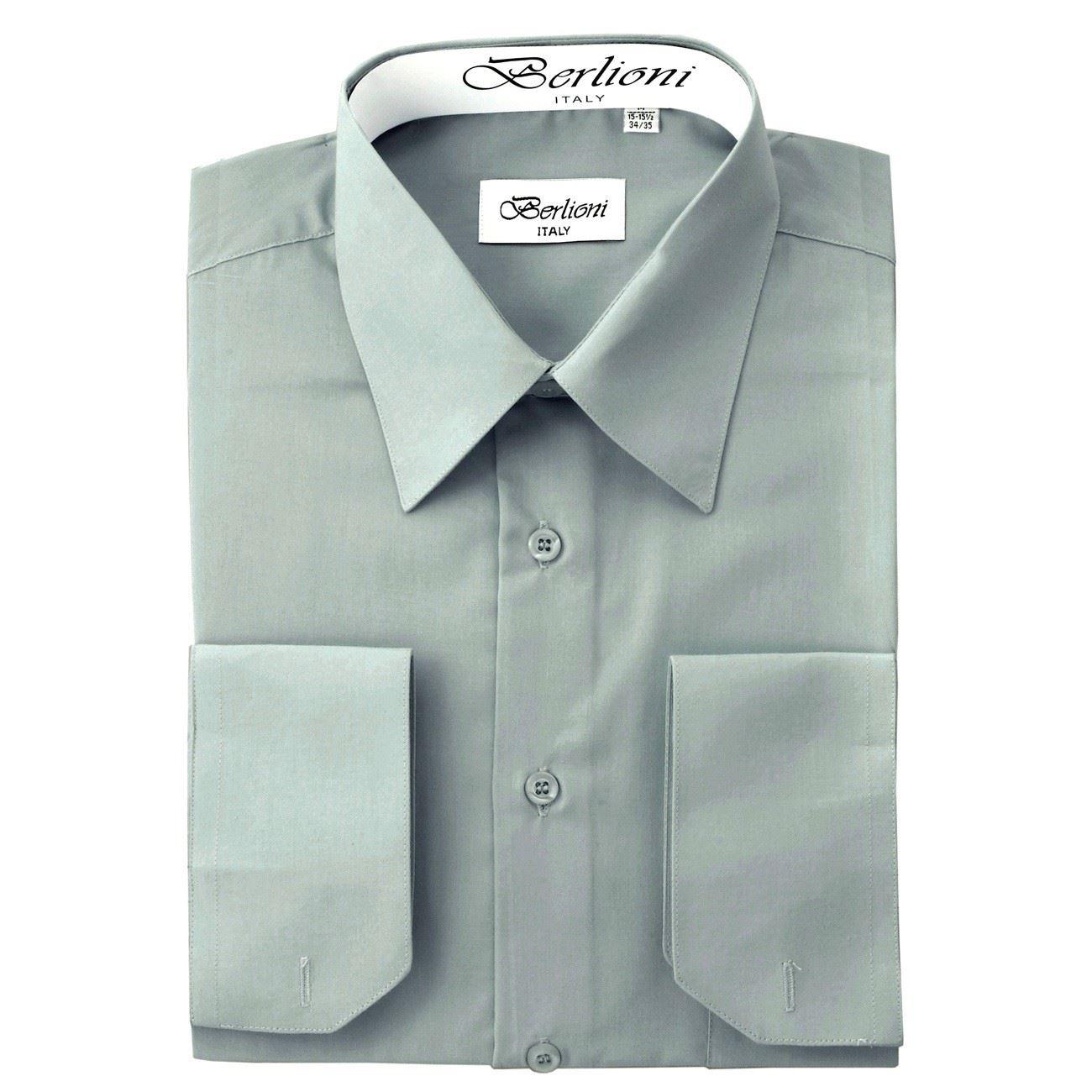 Berlioni italy men 39 s dress shirt convertible french cuffs for French collar dress shirt