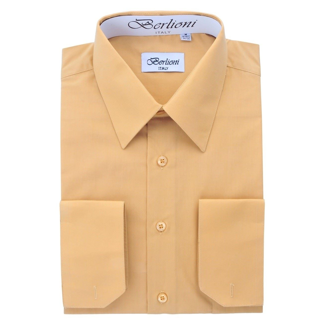 Berlioni italy men 39 s dress shirt convertible french cuffs for Mens shirt french cuff