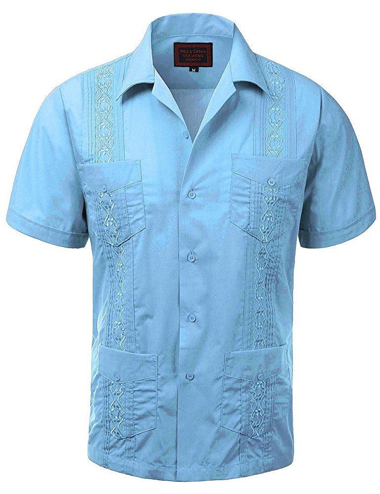 Maximos men 39 s short sleeve button up cuban guayabera shirt for Men s wedding dress shirts