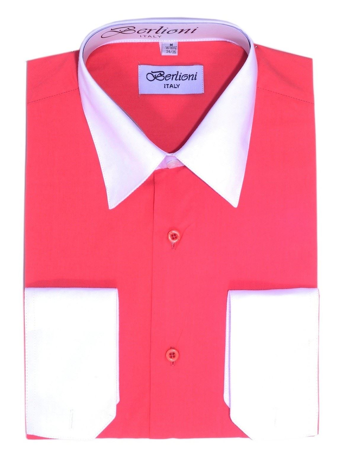 Berlioni mens italy dress shirt two tone french for Mens dress shirts with cufflink holes
