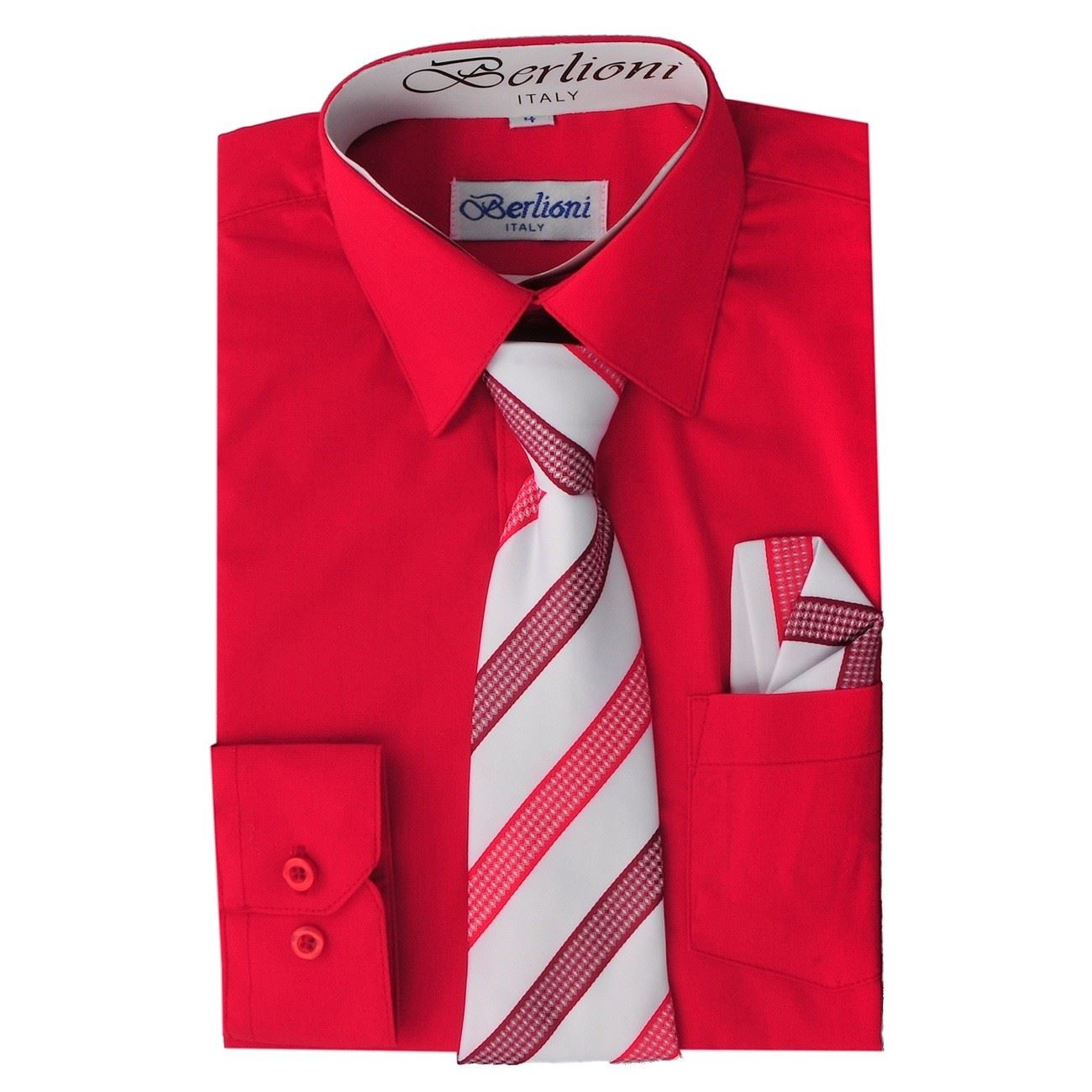 Berlioni italy kids boys dress shirt long sleeve with tie for Shirts made in italy