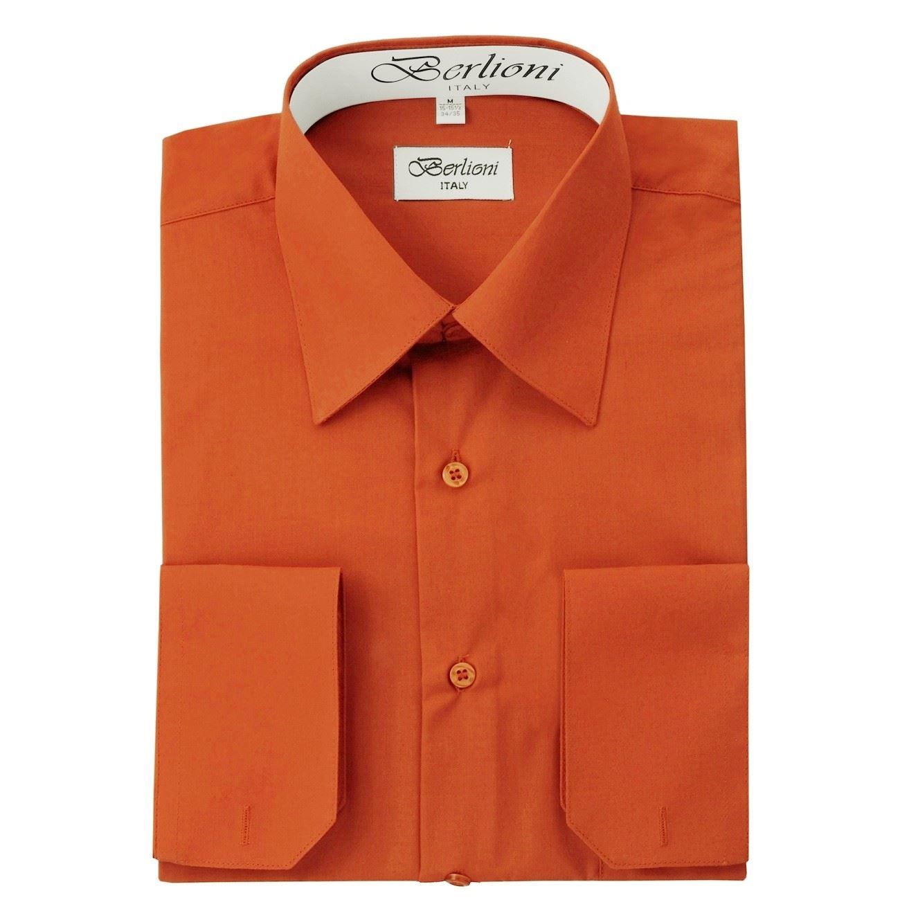 Berlioni italy men 39 s dress shirt convertible french cuffs for Mens dress shirts sizes