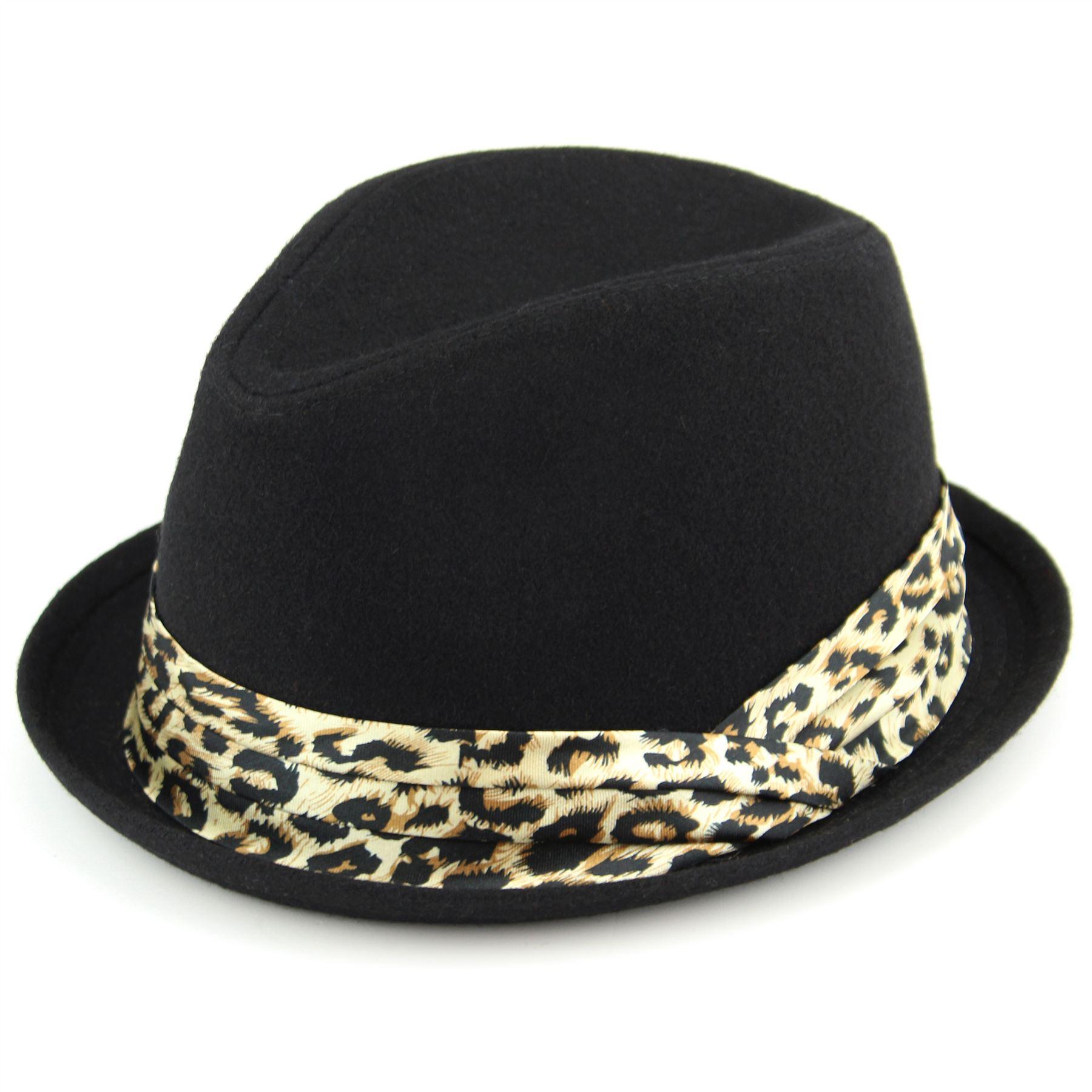 trilby hat womens hawkins leopard print band black grey