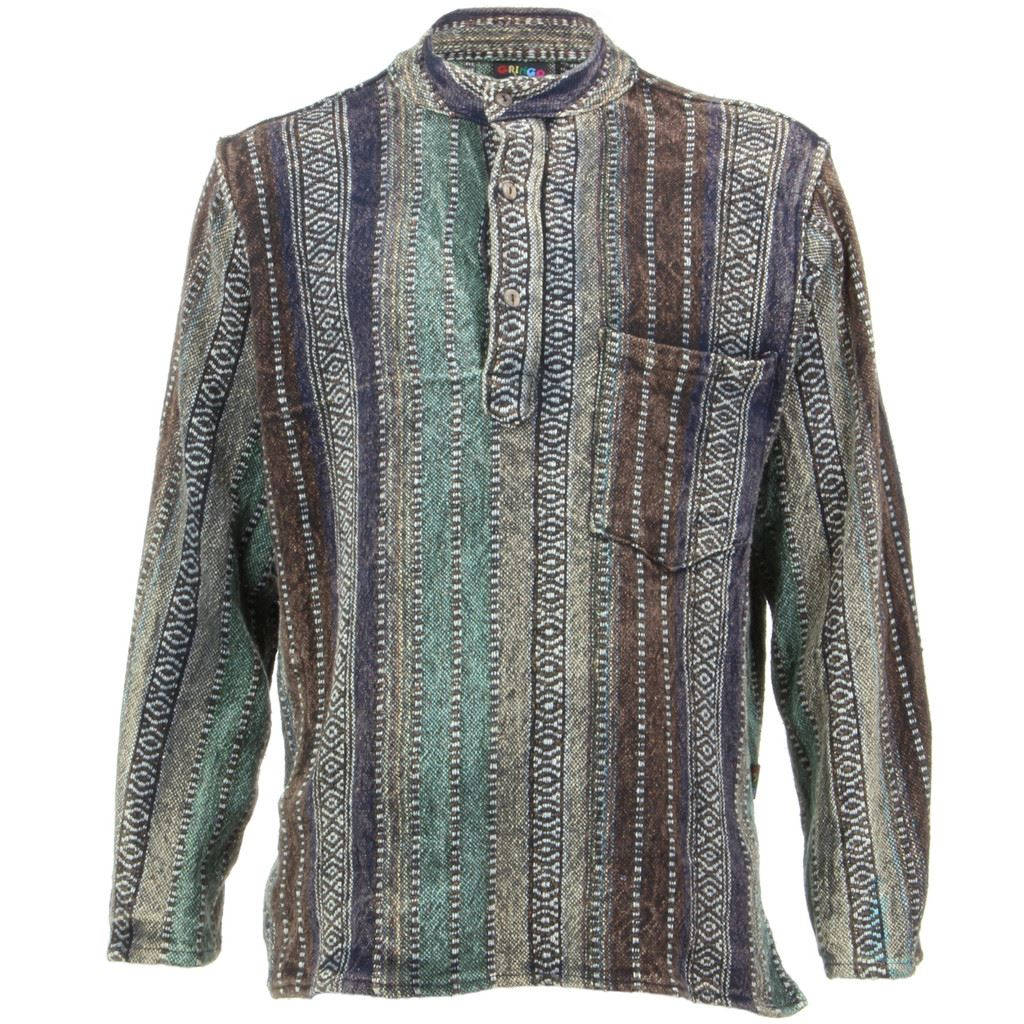 Mens Striped Collarless Plain Cotton Grandad Button boho ...