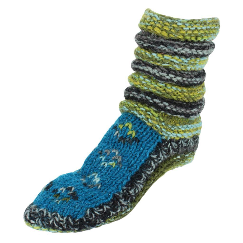 Knitting Chunky Socks : Wool socks fleece lined chunky knit slouch bed slippers