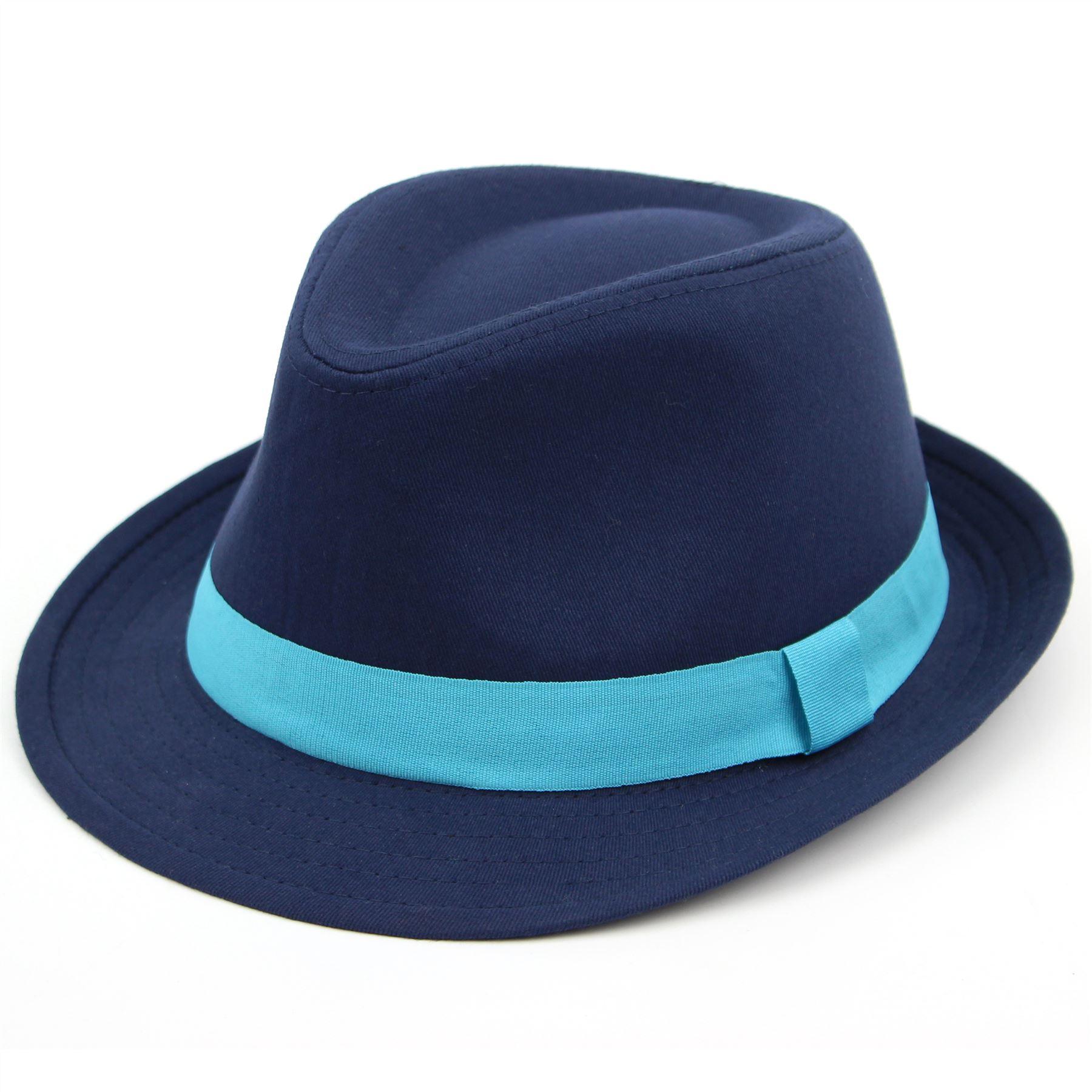 Deep Blue Wool Felt Fedora - Pure Wool Felt Handmade ...  |Blue Black Band Fedora