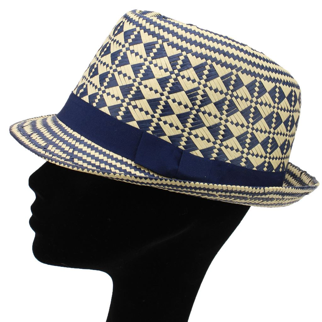 CHECK PATTERN TRILBY HAT STRAW STYLE WOVEN PAPER JAZZ PORK ...