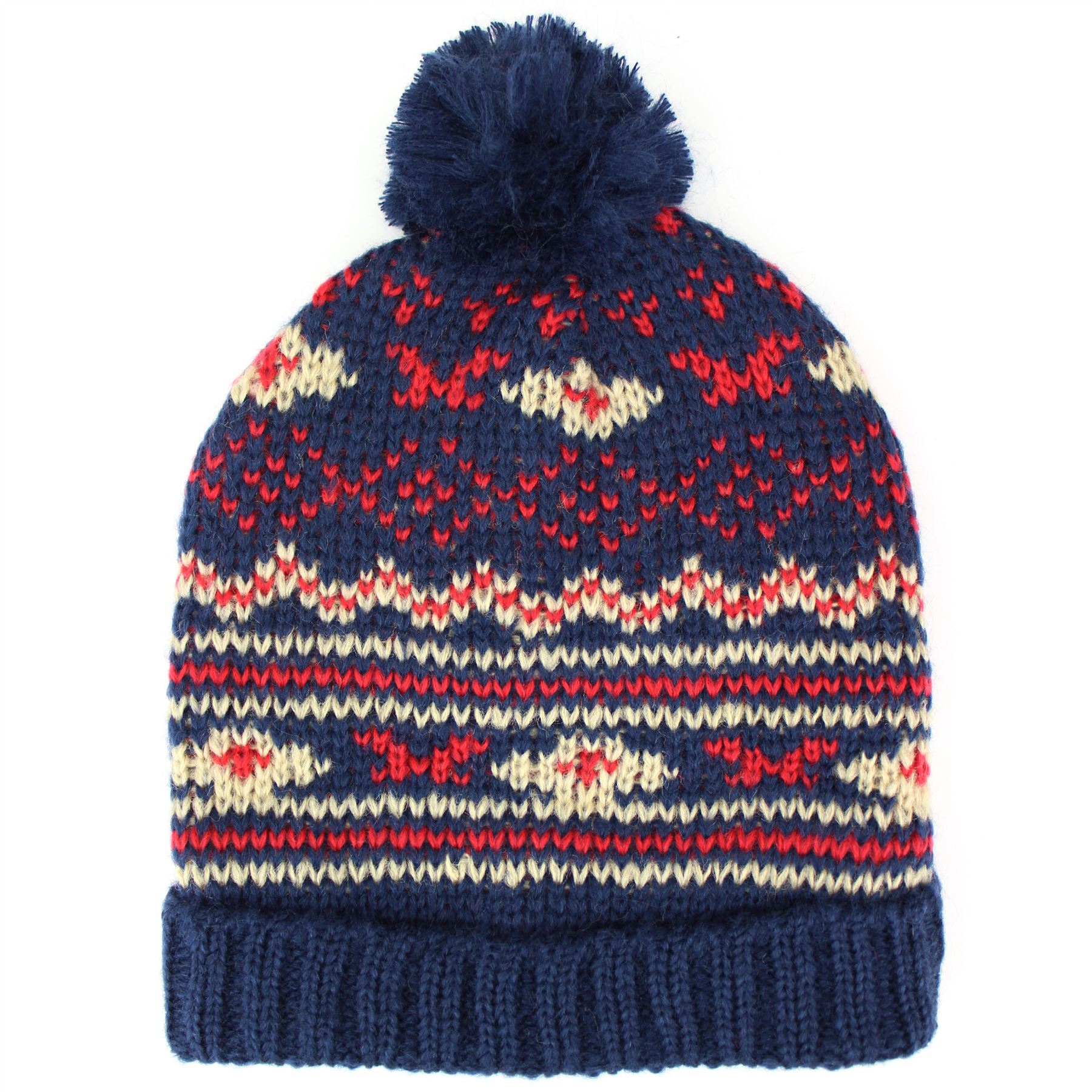 Pom Pom Beanie Knitting Pattern : Hat Beanie Bobble Fairisle Winter Pom Fair Isle Knitted Warm Ski Pattern