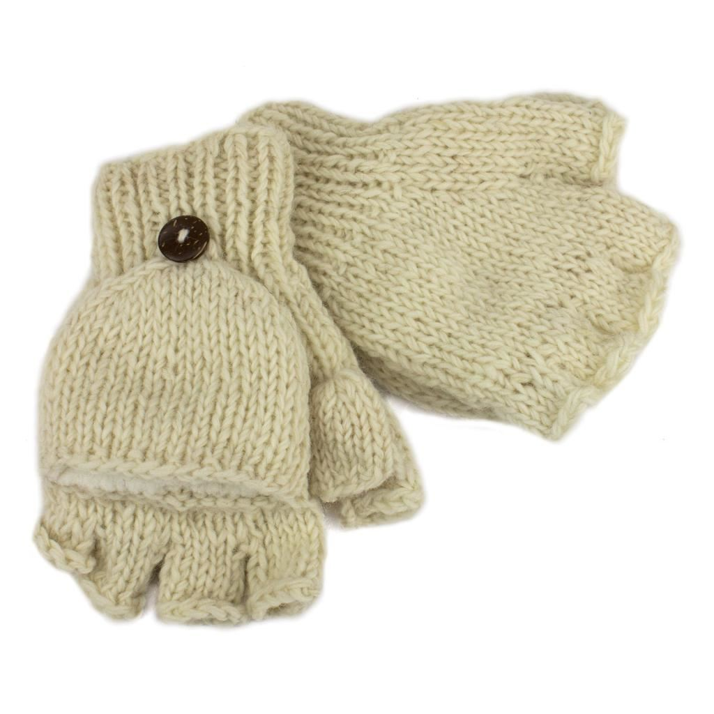 SHOOTER GLOVES MITTENS FLEECE LINED HANDMADE NEPAL WOOL KNIT FINGERLESS eBay