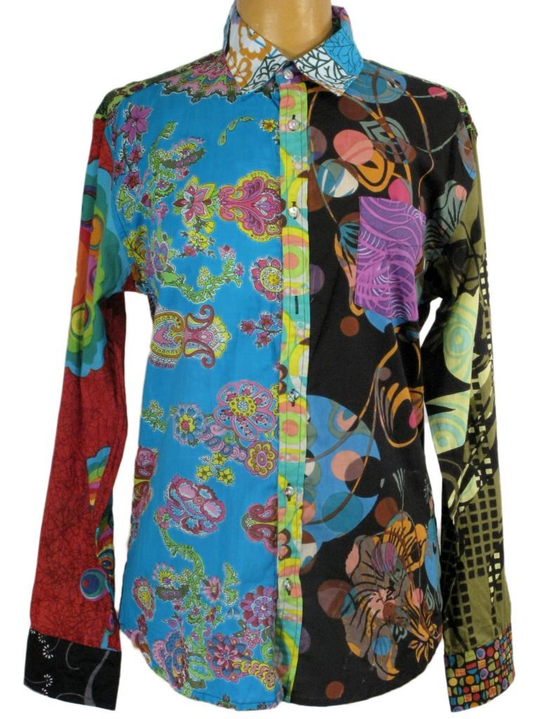 Psychedelic Shirt Retro 70s Style Long Sleeve Hippie
