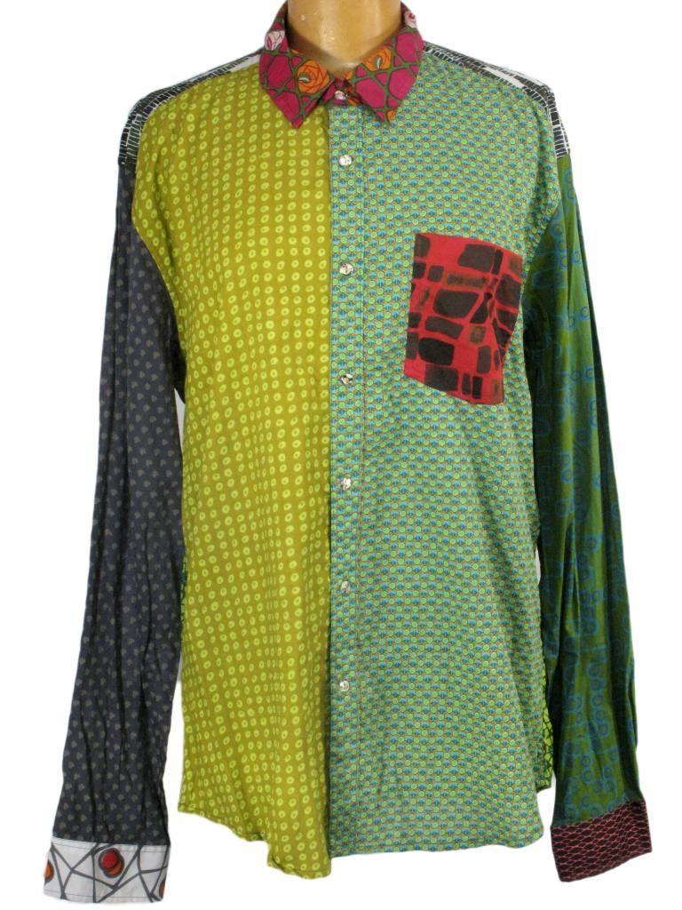 Retro Psychedelic Shirt Long Sleeve Geometric Print Hippie