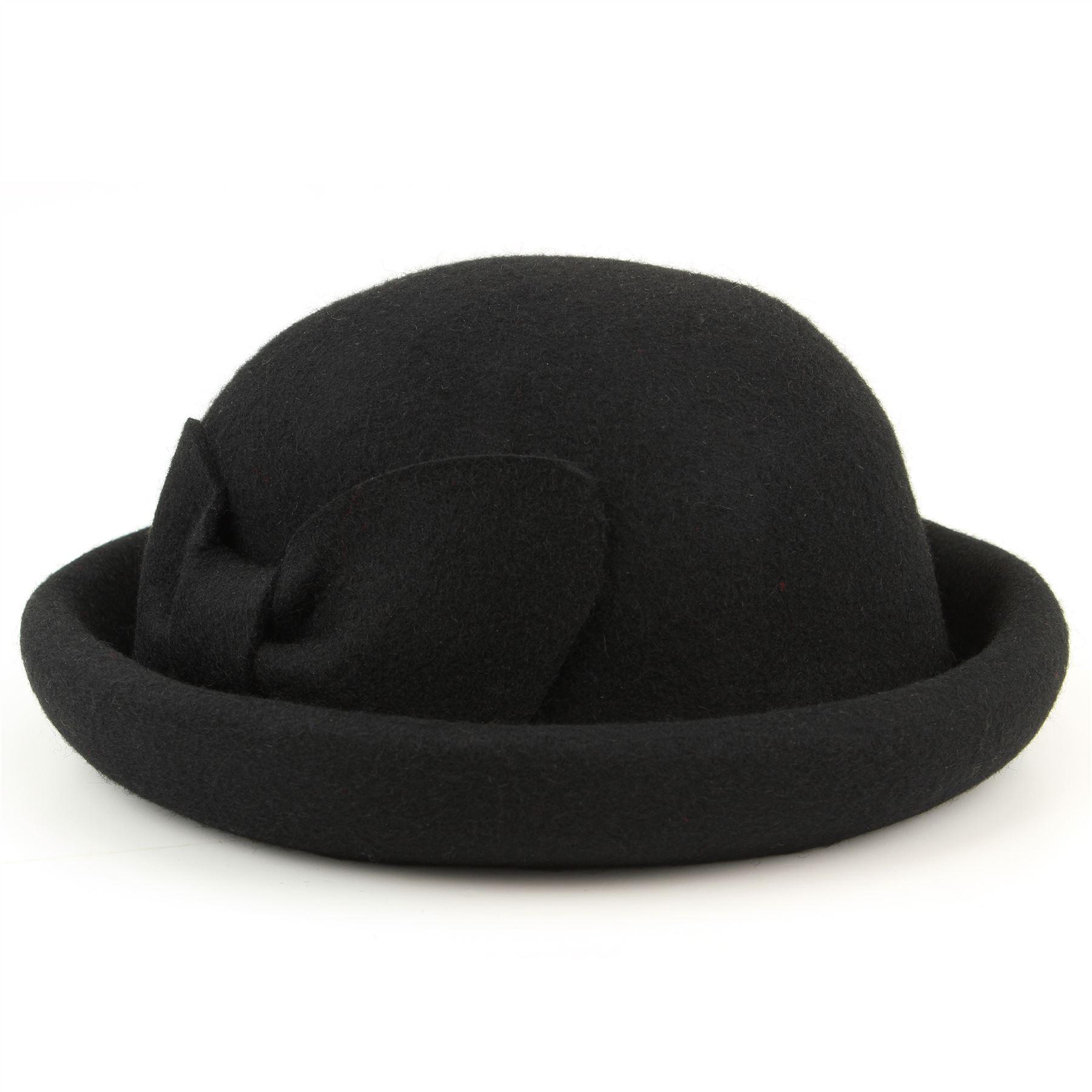 black bowler hat derby rolled brim womens mens
