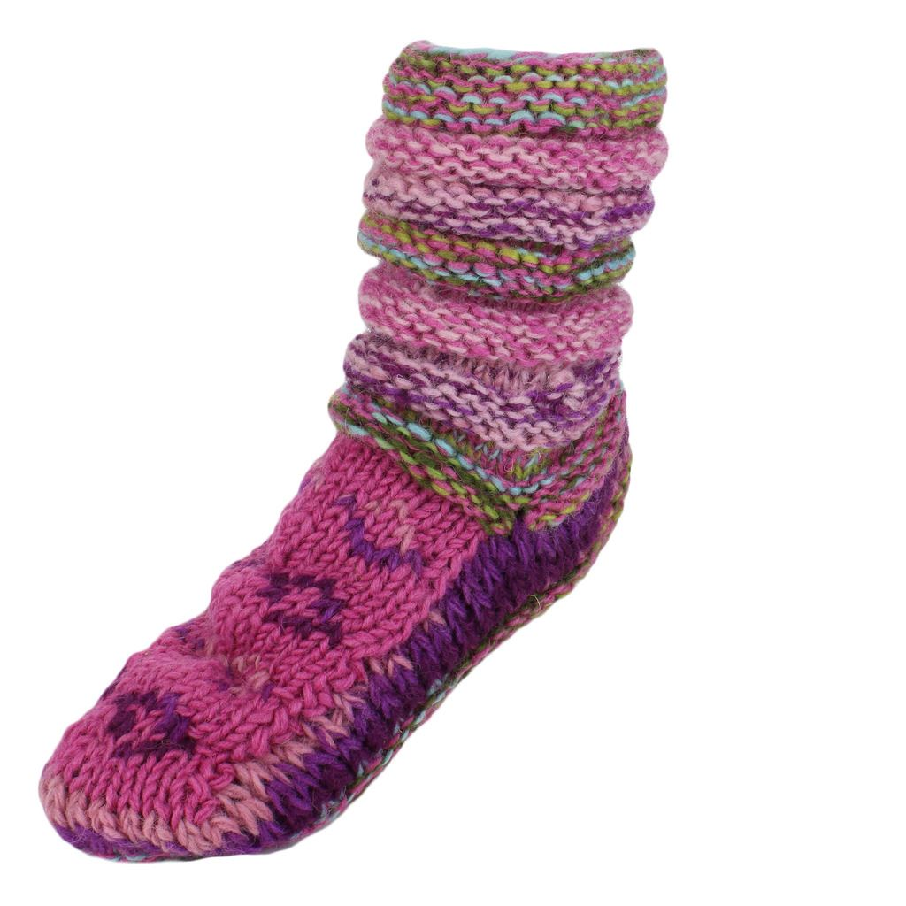 Knitting Pattern Chunky Bed Socks : WOOL SOCKS FLEECE LINED CHUNKY KNIT SLOUCH BED SLIPPERS WINTER WARM eBay