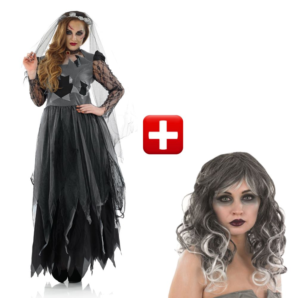 ladies corpse bride fancy dress costume womens halloween outfit 8-30