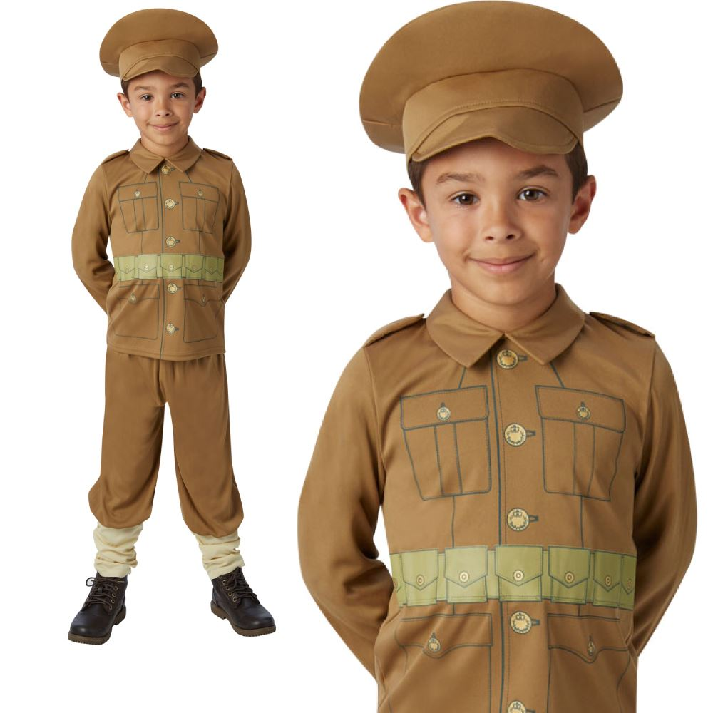 kids world war 1 soldier fancy dress costume includes 3 colour in